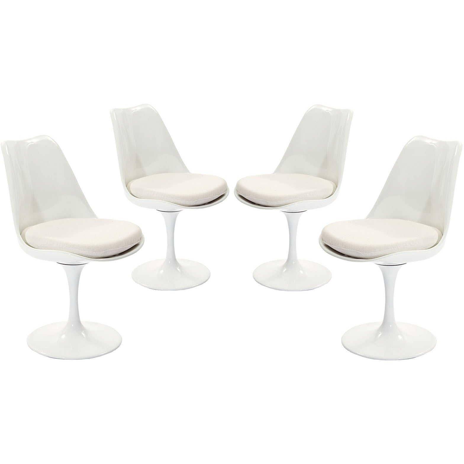 Lippa Dining Side Chair Fabric Set of 4 - White