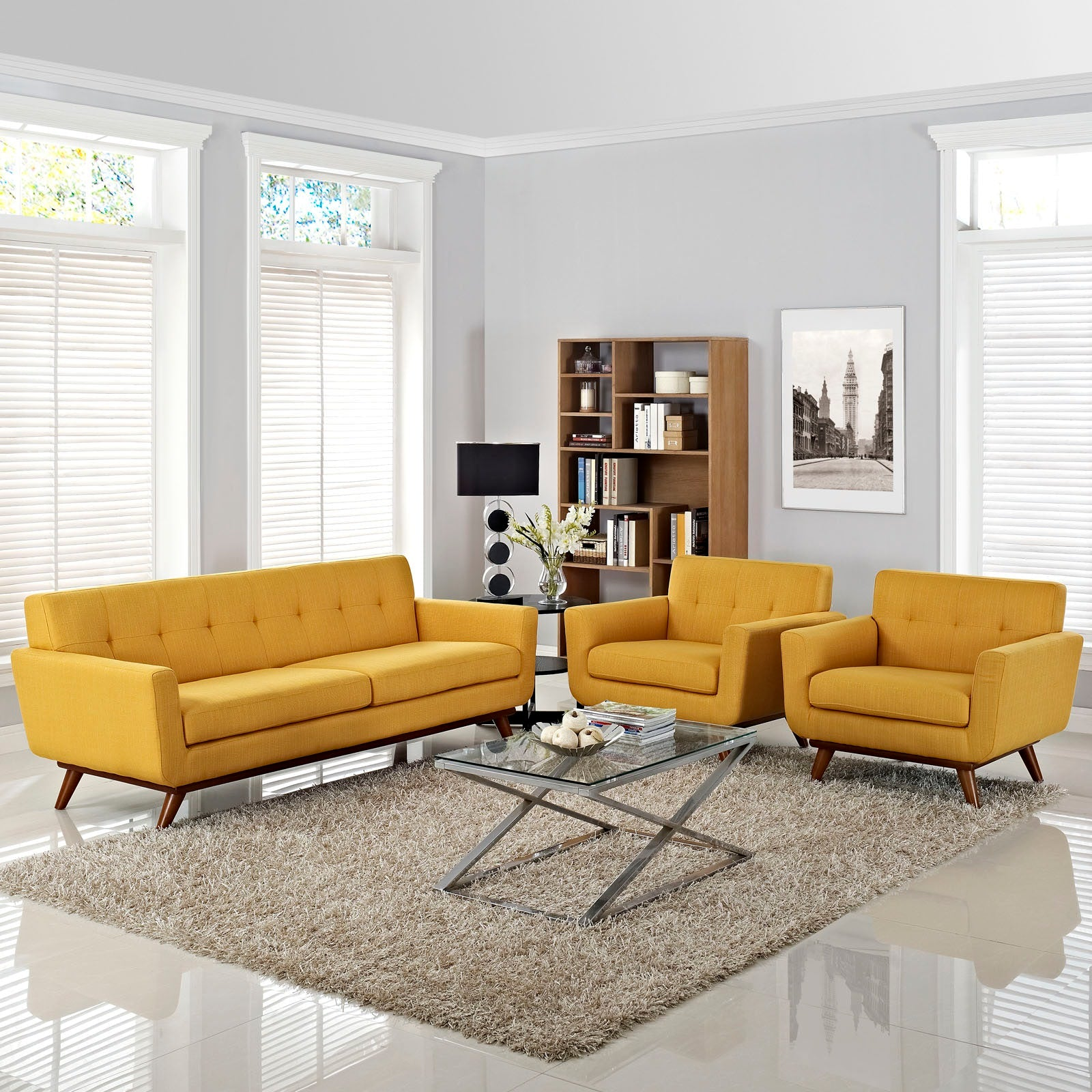 Engage Armchairs and Sofa Set of 3 - Citrus