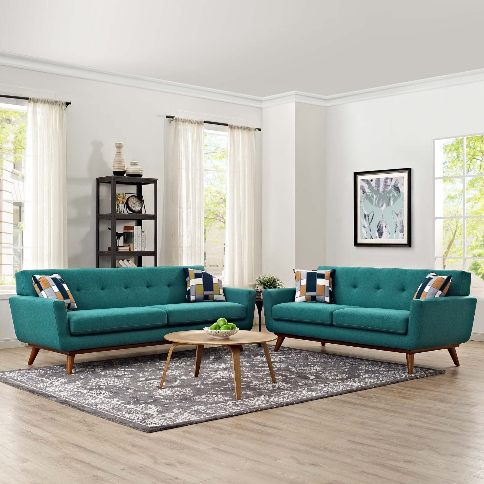 Engage Loveseat and Sofa Set of 2 - Teal