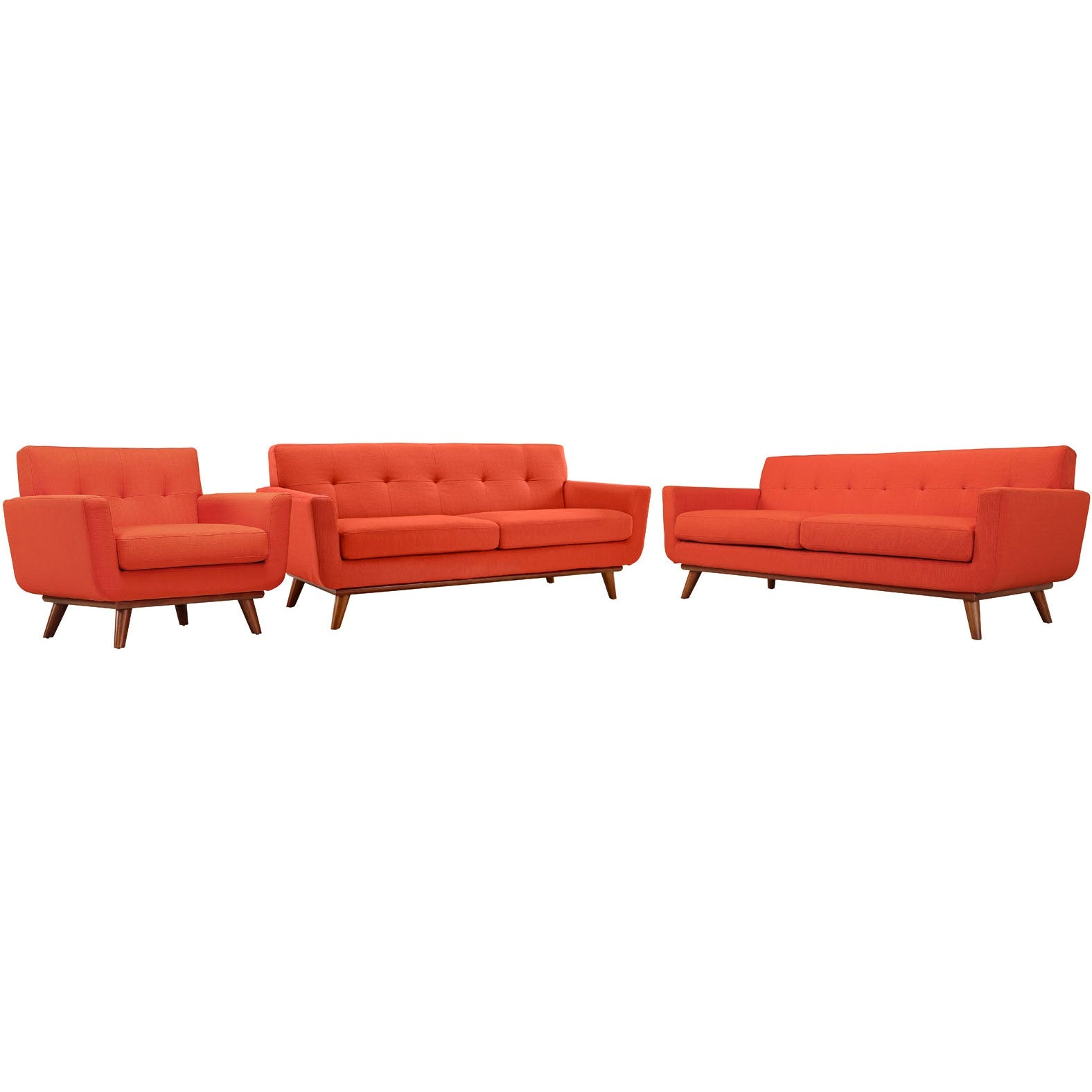 Engage Sofa Loveseat and Armchair Set of 3 - Atomic Red