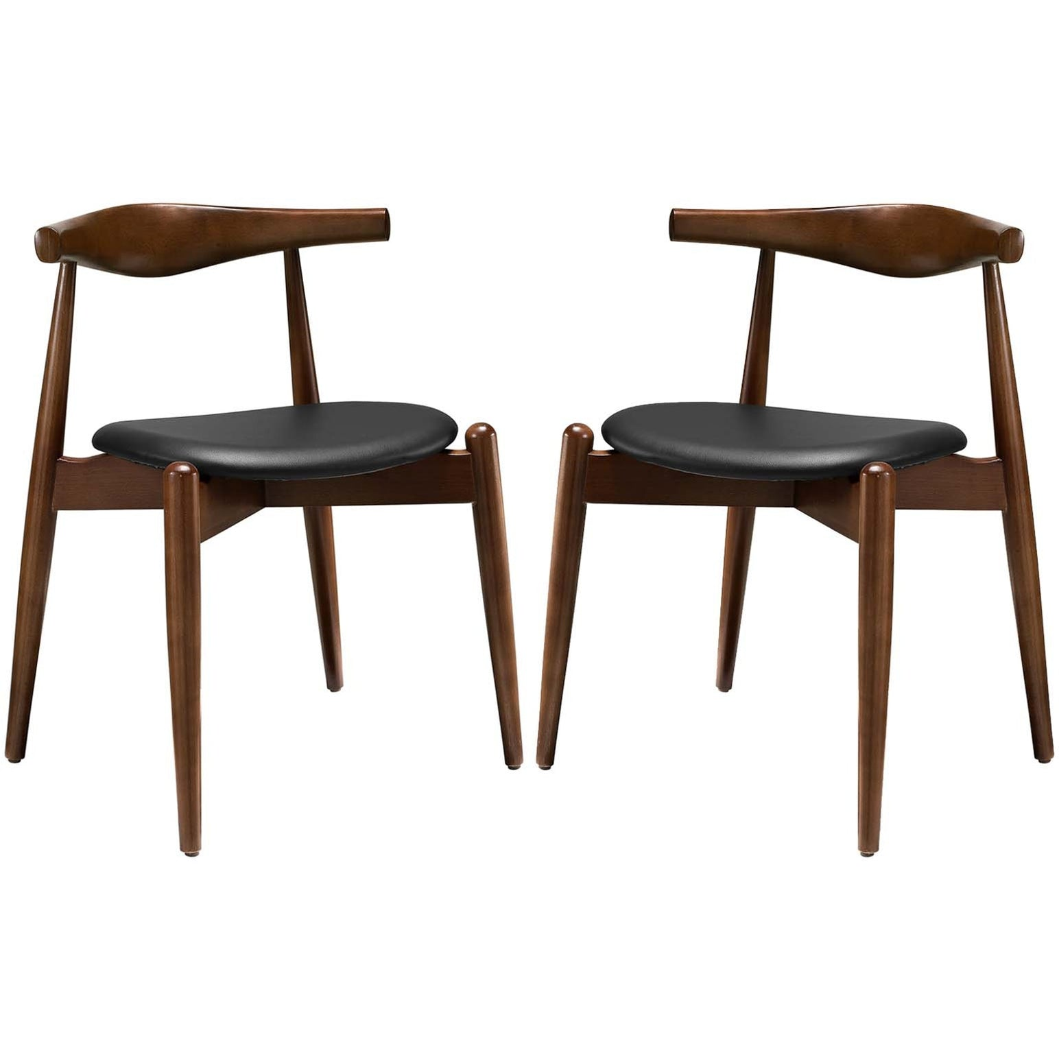 Stalwart Dining Side Chairs Set of 2 - Dark Walnut Black