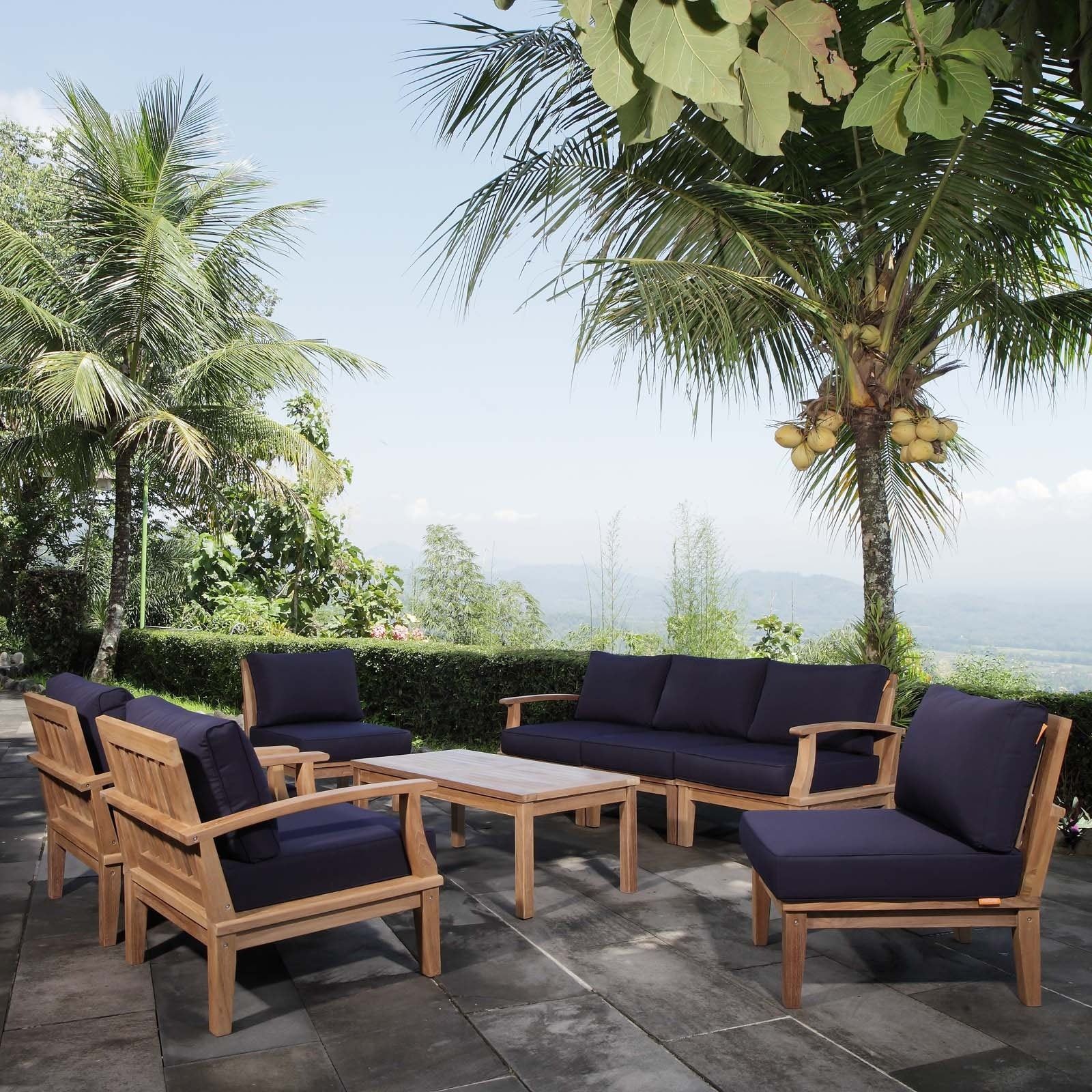 Marina 8 Piece Outdoor Patio Teak Set - Natural Navy