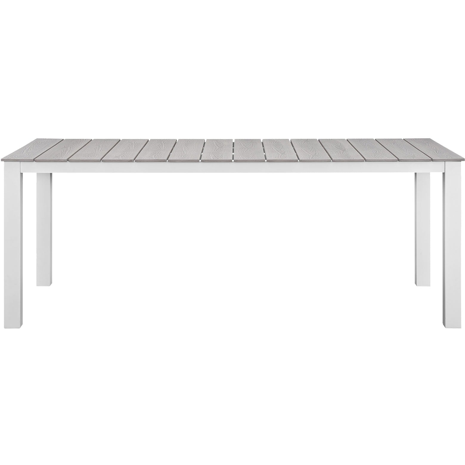 "Maine 80"" Outdoor Patio Dining Table - White Light Gray"