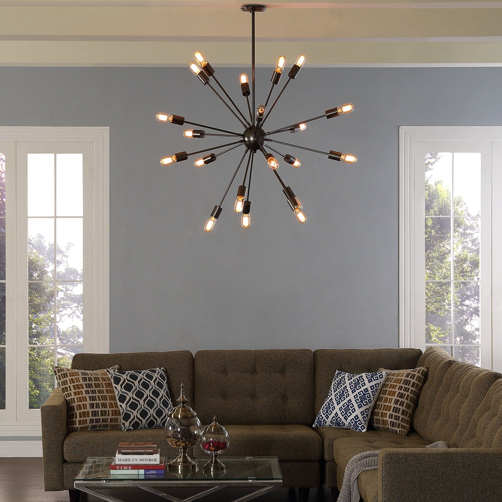 Beam Stainless Steel Chandelier - Gray