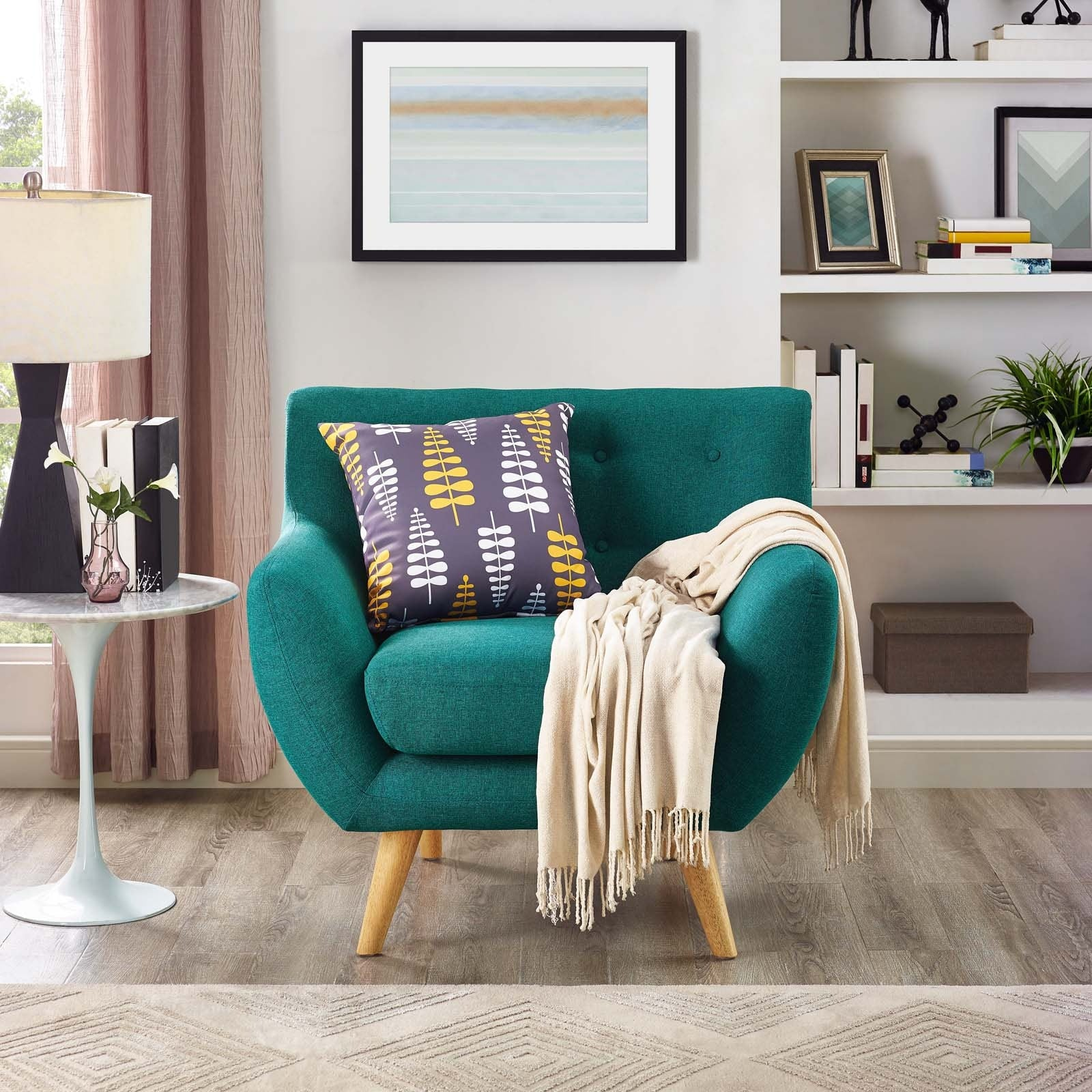 Remark Upholstered Fabric Armchair - Teal