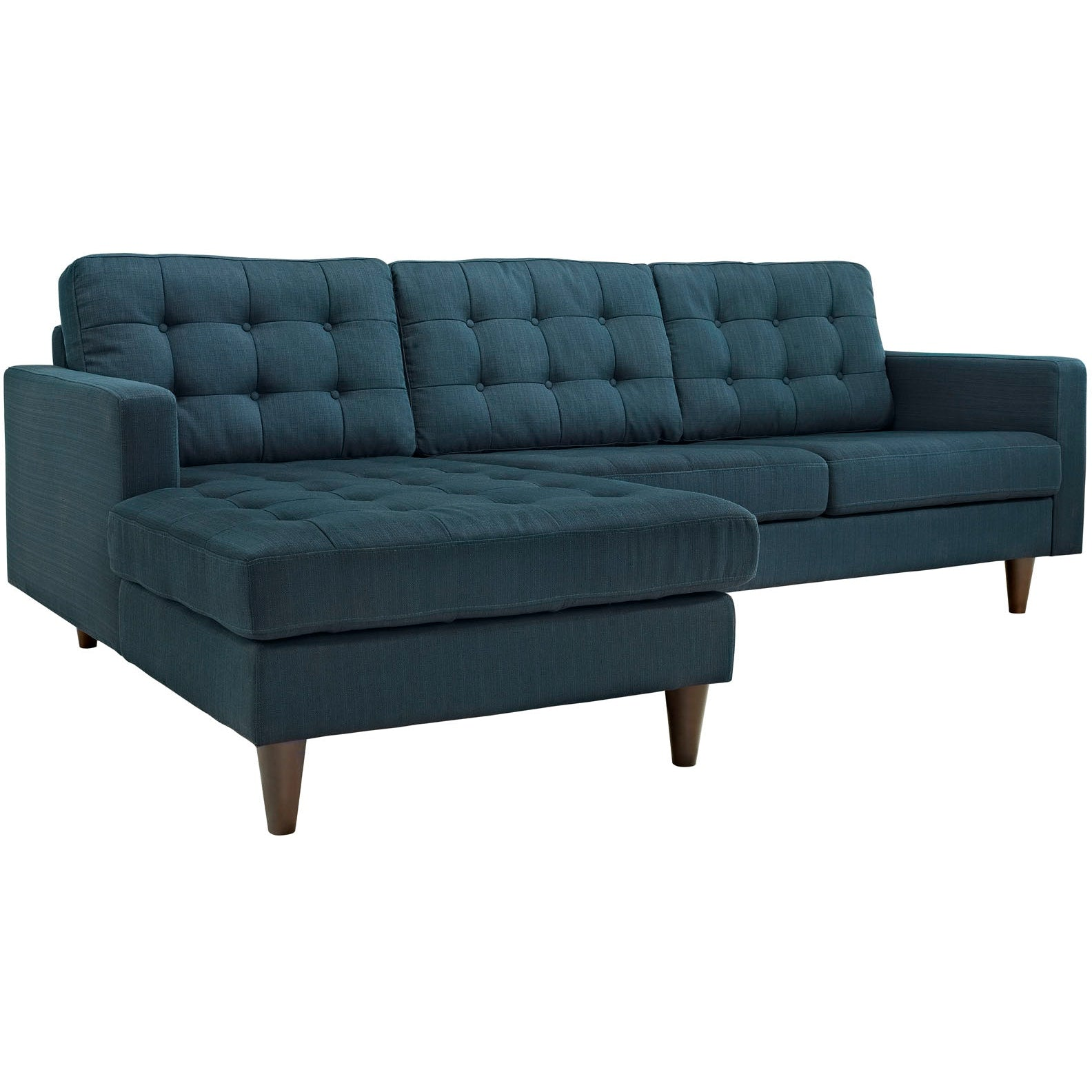 Empress Left-Facing Upholstered Fabric Sectional Sofa - Azure