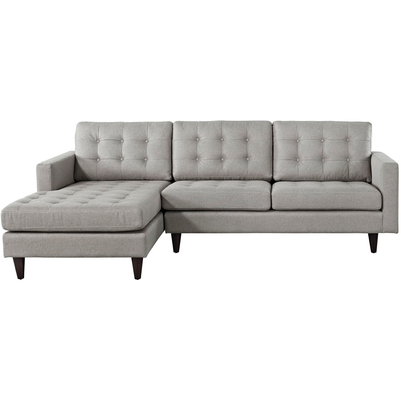 Empress Left-Facing Upholstered Fabric Sectional Sofa - Light Gray