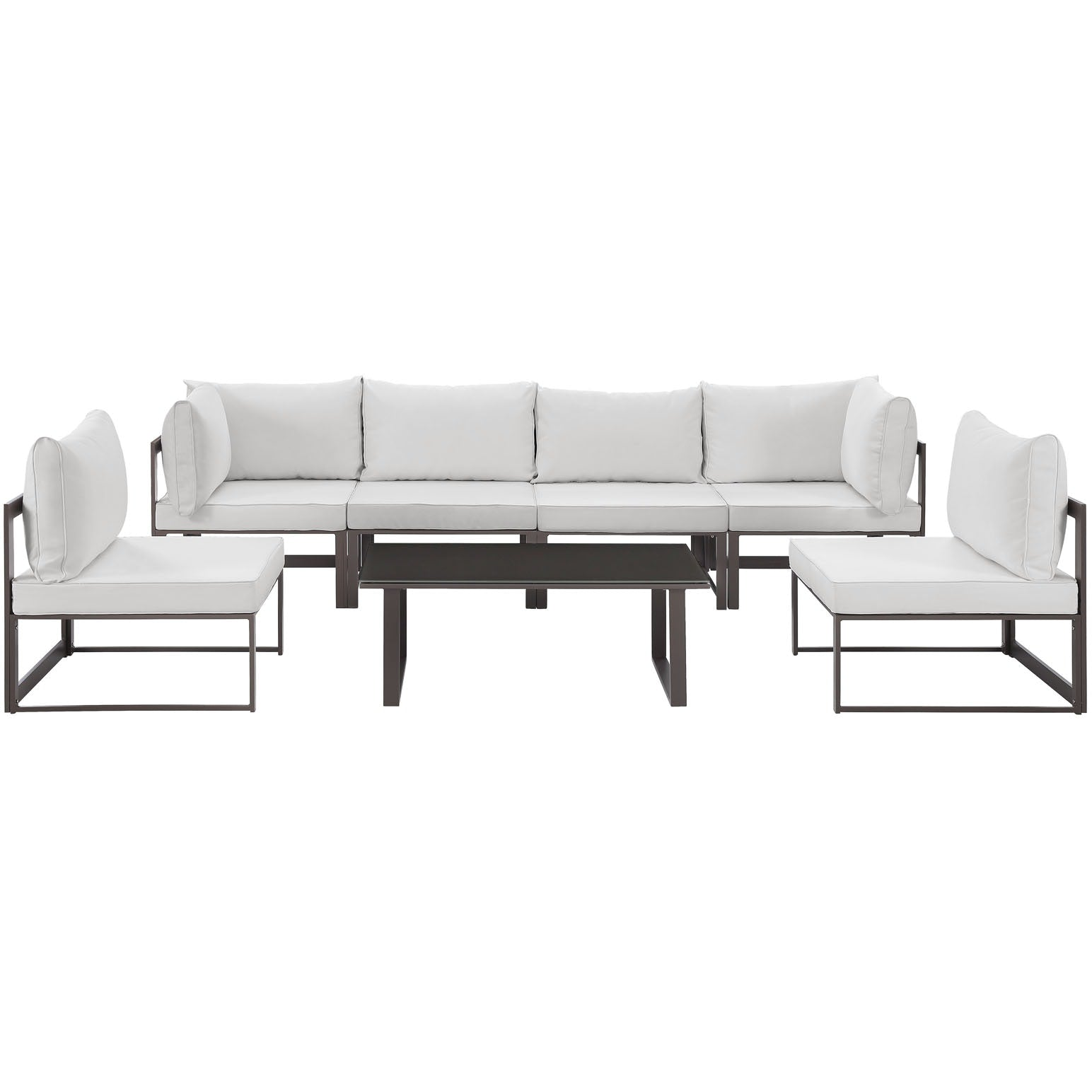 Fortuna 7 Piece Outdoor Patio Sectional Sofa Set - Brown White