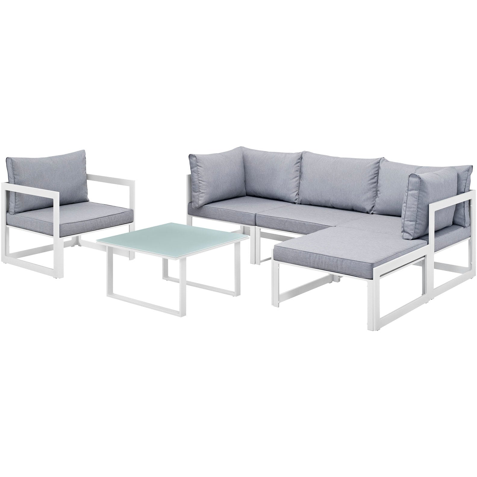 Fortuna 6 Piece Outdoor Patio Sectional Sofa Set - White Gray