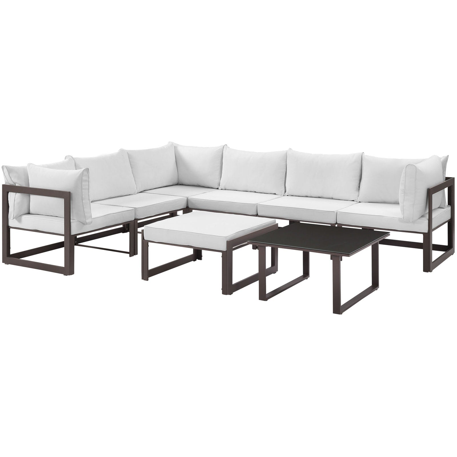 Fortuna 8 Piece Outdoor Patio Sectional Sofa Set - Brown White