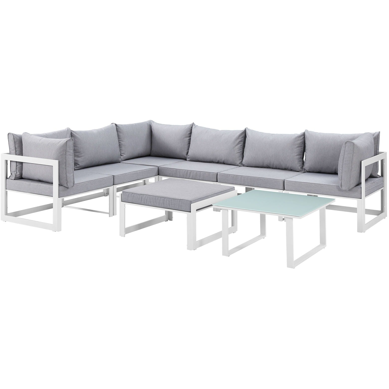 Fortuna 8 Piece Outdoor Patio Sectional Sofa Set - White Gray