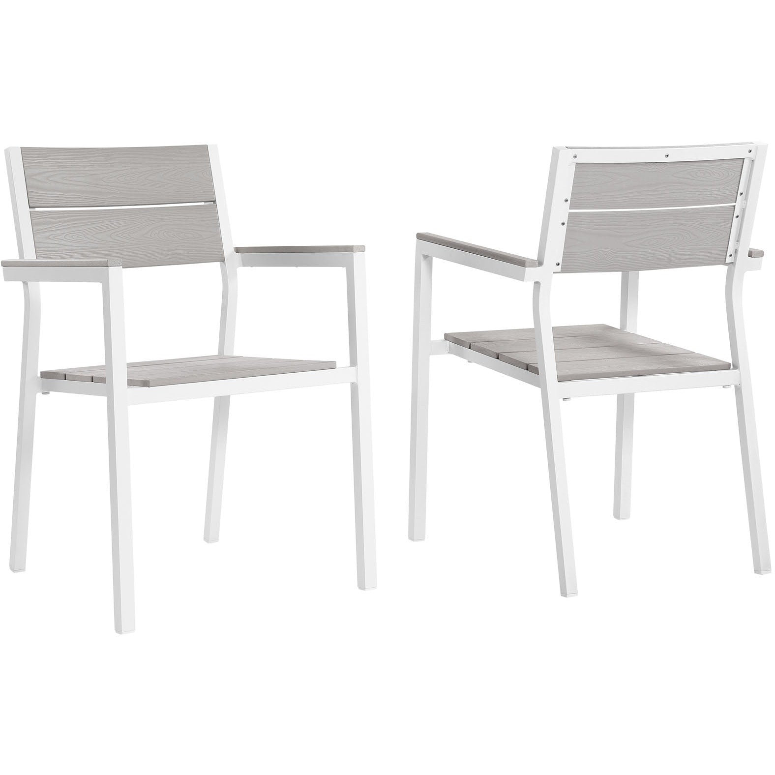 Maine Dining Armchair Outdoor Patio Set of 2 - White Light Gray