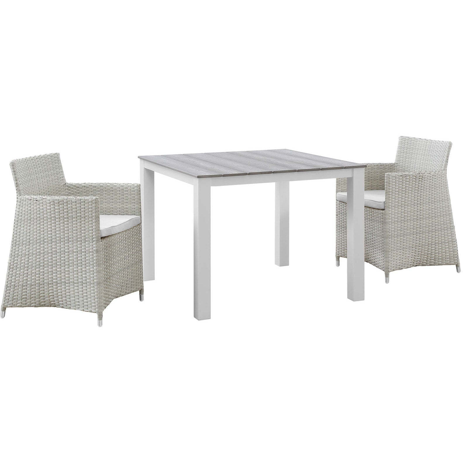 Junction 3 Piece Outdoor Patio Wicker Dining Set - Gray White
