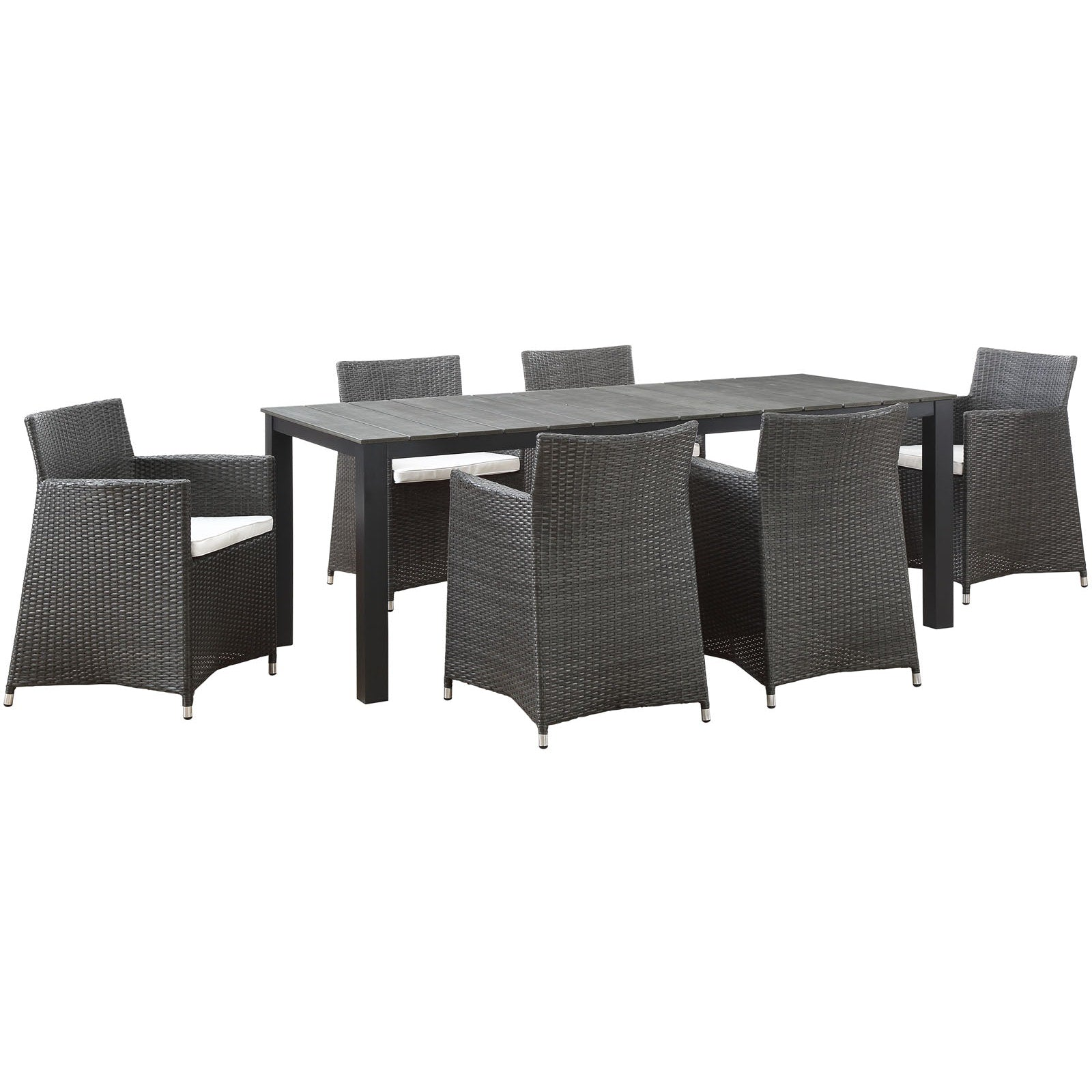 Junction 7 Piece Outdoor Patio Dining Set - Brown White