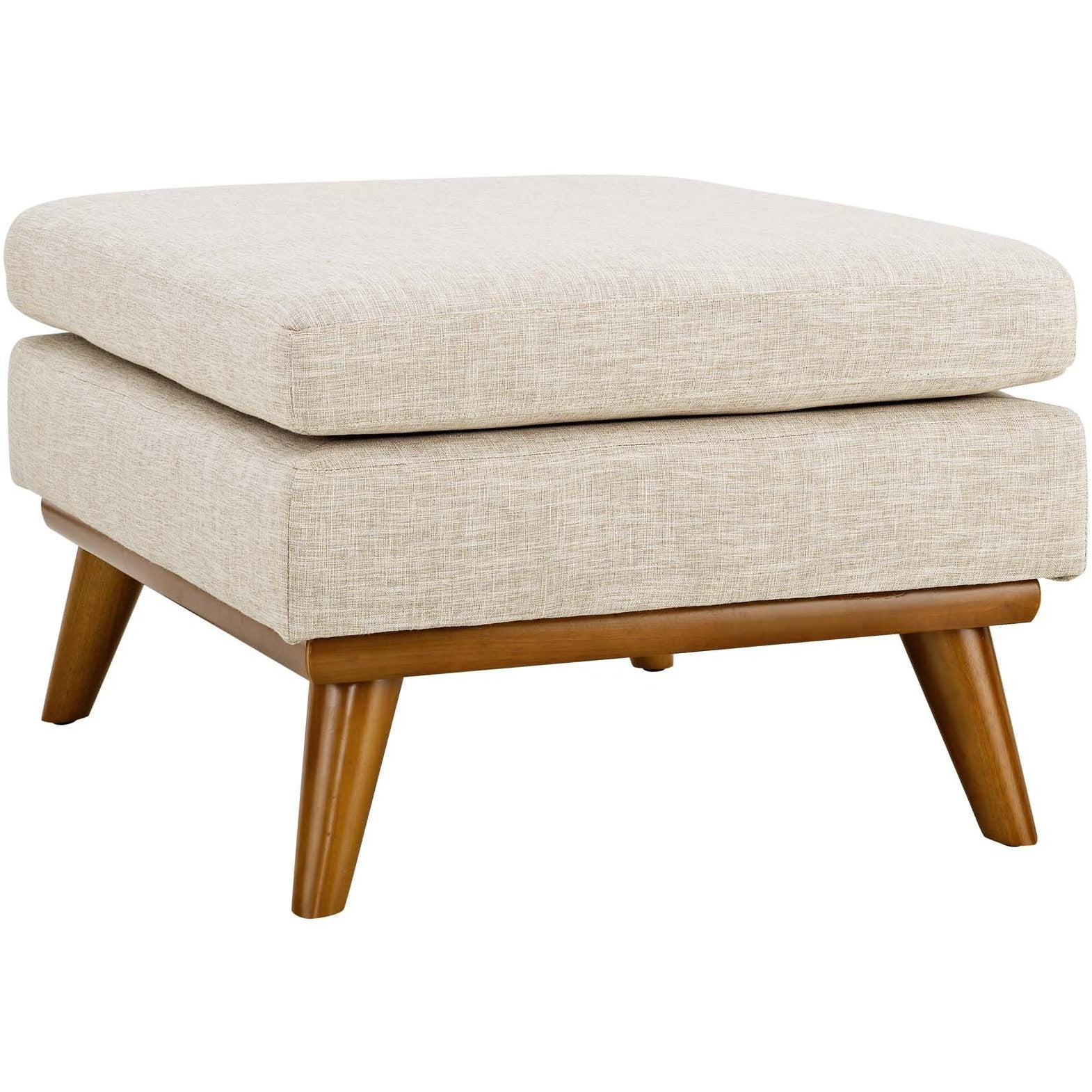 Engage Upholstered Fabric Ottoman - Beige