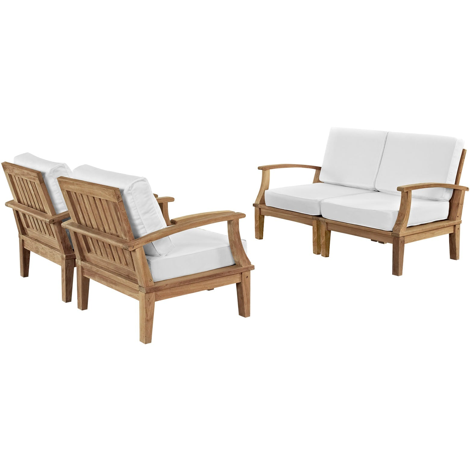 Marina 4 Piece Outdoor Patio Teak Set - Natural White