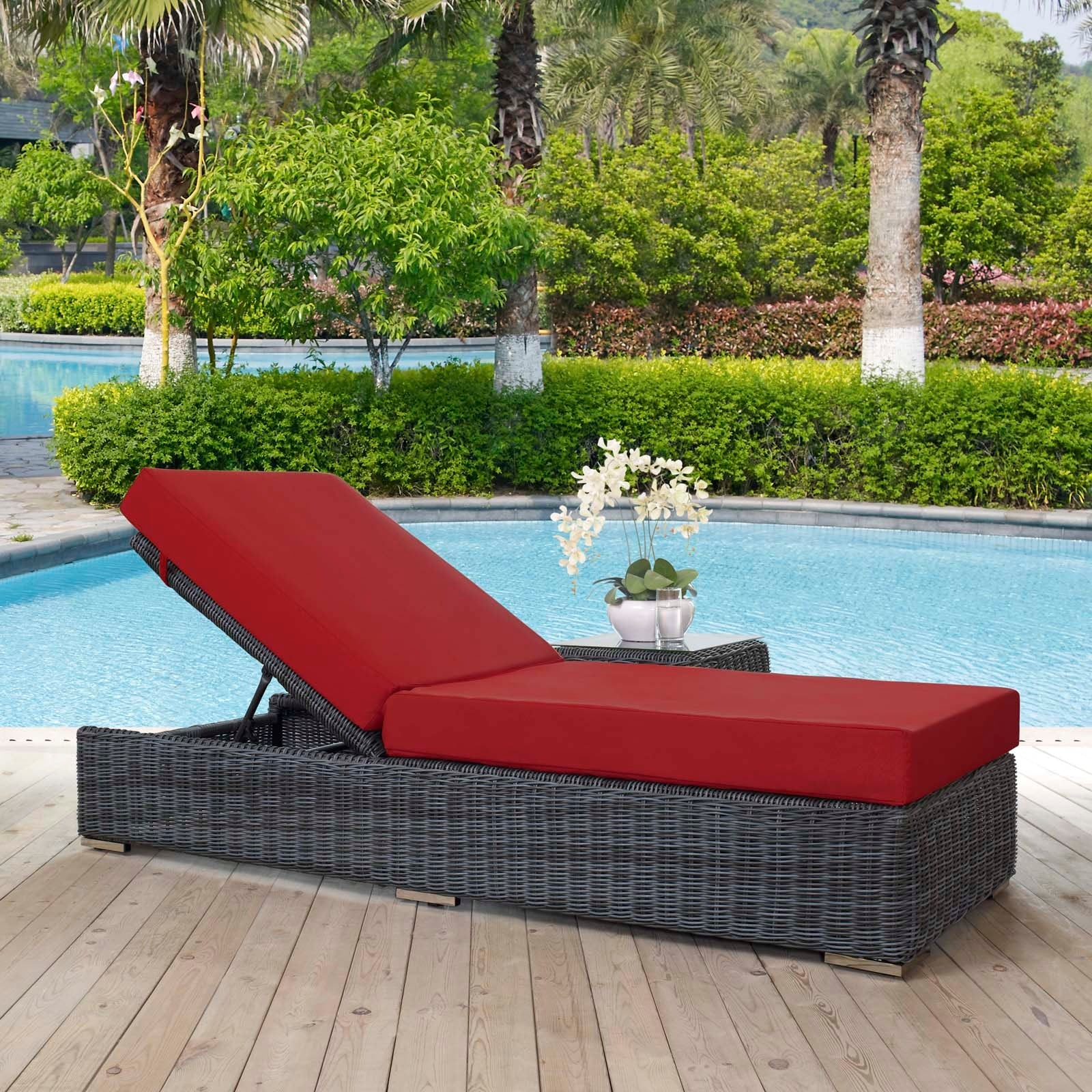 Summon Outdoor Patio Sunbrella® Chaise Lounge - Canvas Red