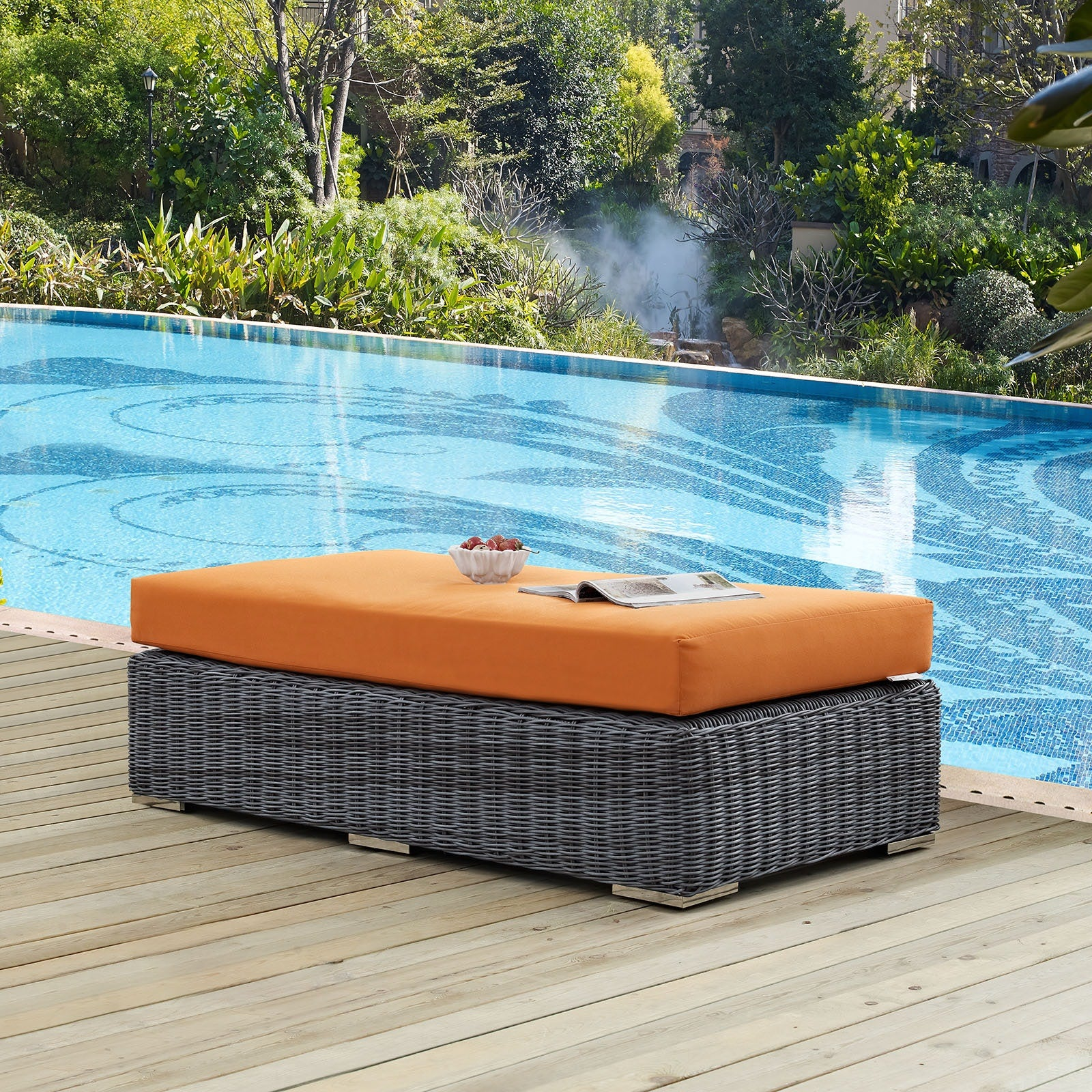 Summon Outdoor Patio Sunbrella® Rectangle Ottoman - Canvas Tuscan