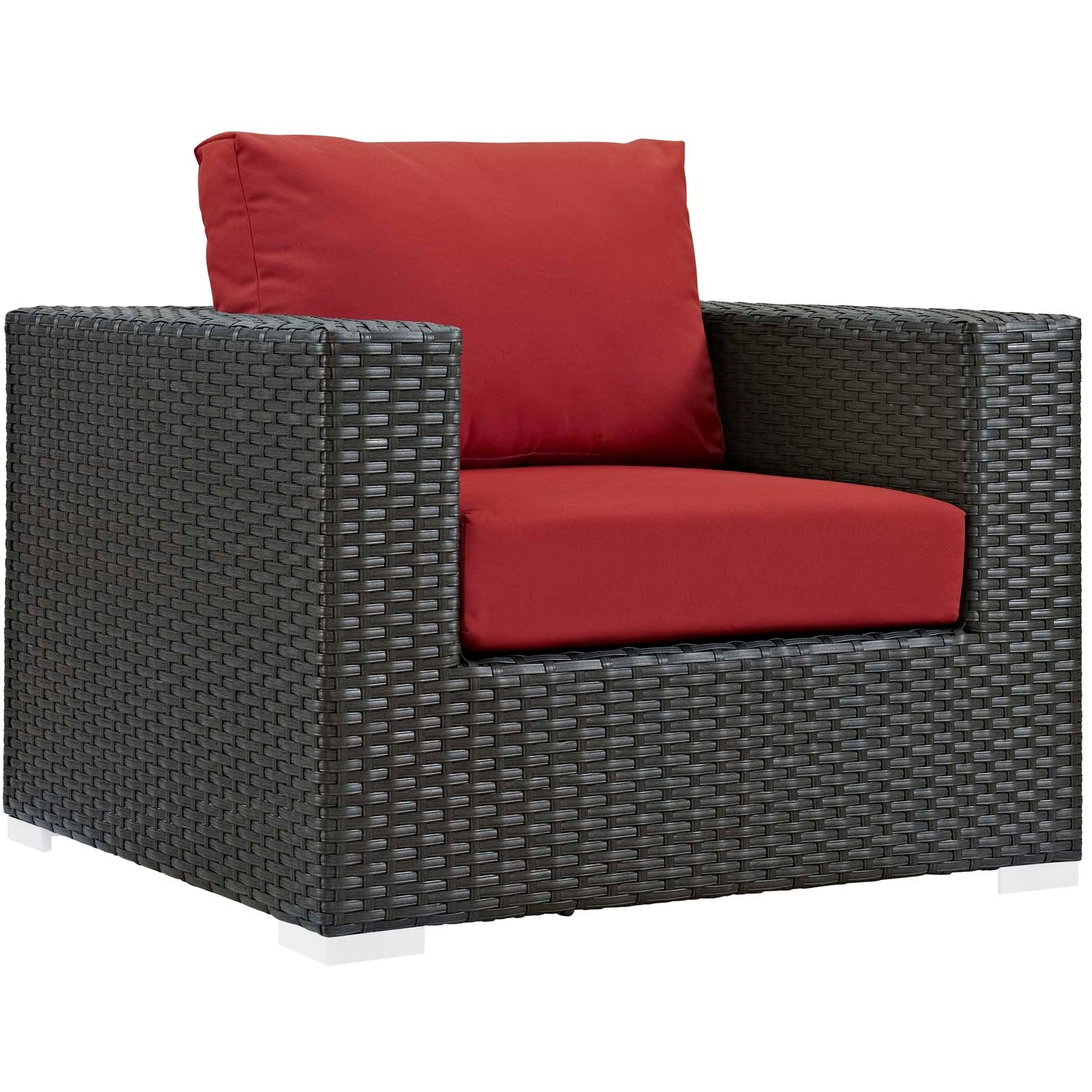 Sojourn 7 Piece Outdoor Patio Sunbrella® Sectional Set - Canvas Red