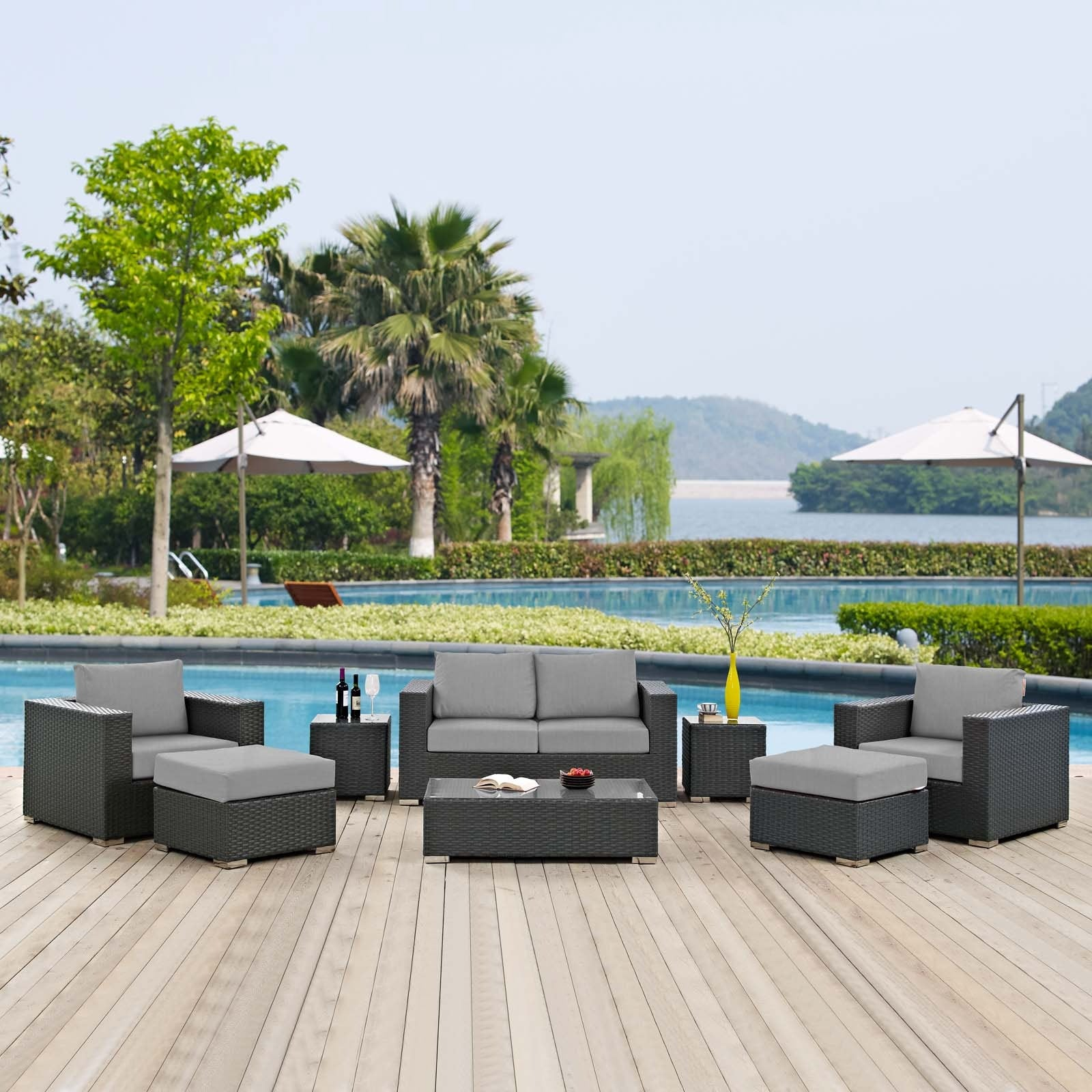 Sojourn 8 Piece Outdoor Patio Sunbrella® Sectional Set - Canvas Gray