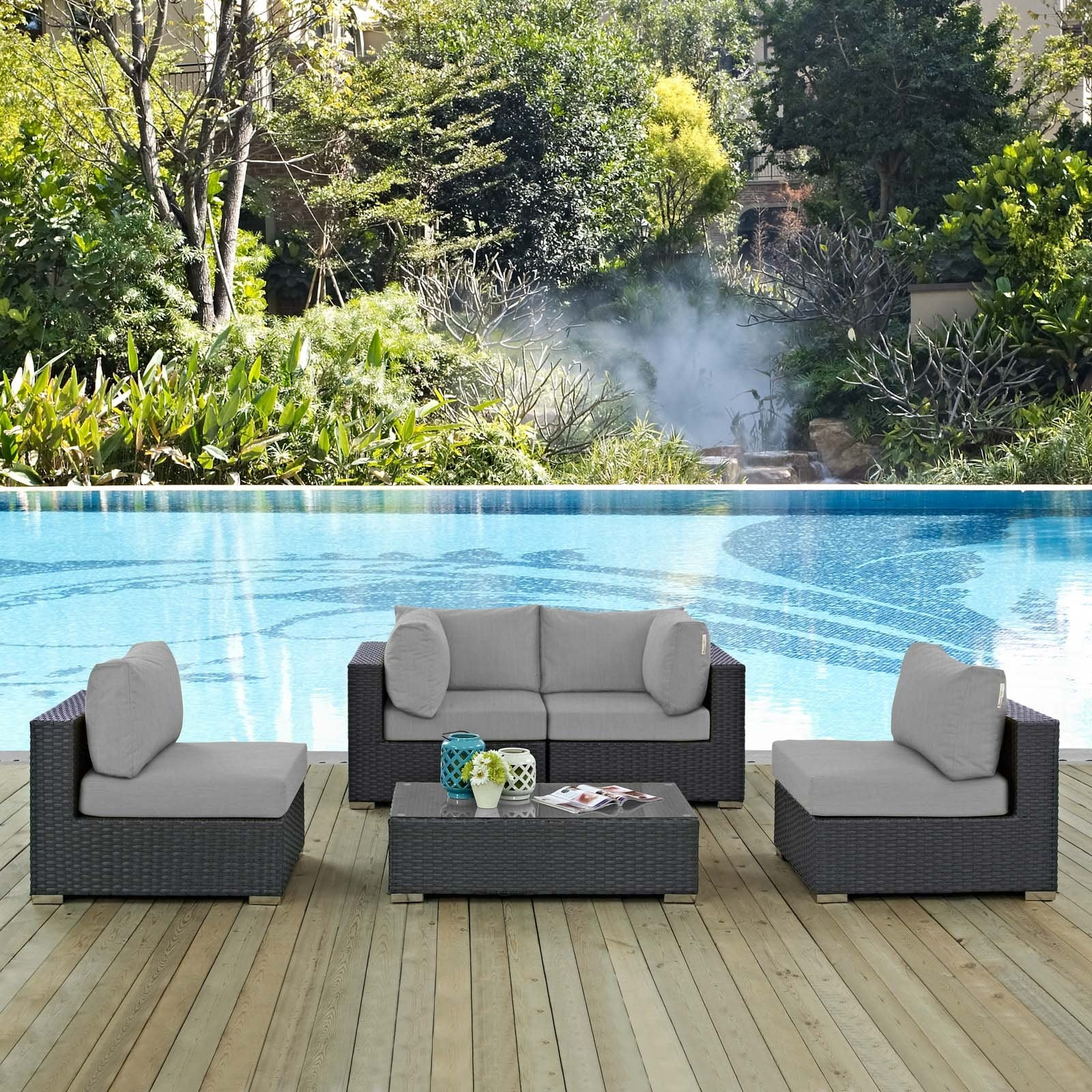 Sojourn 5 Piece Outdoor Patio Sunbrella® Sectional Set - Canvas Gray