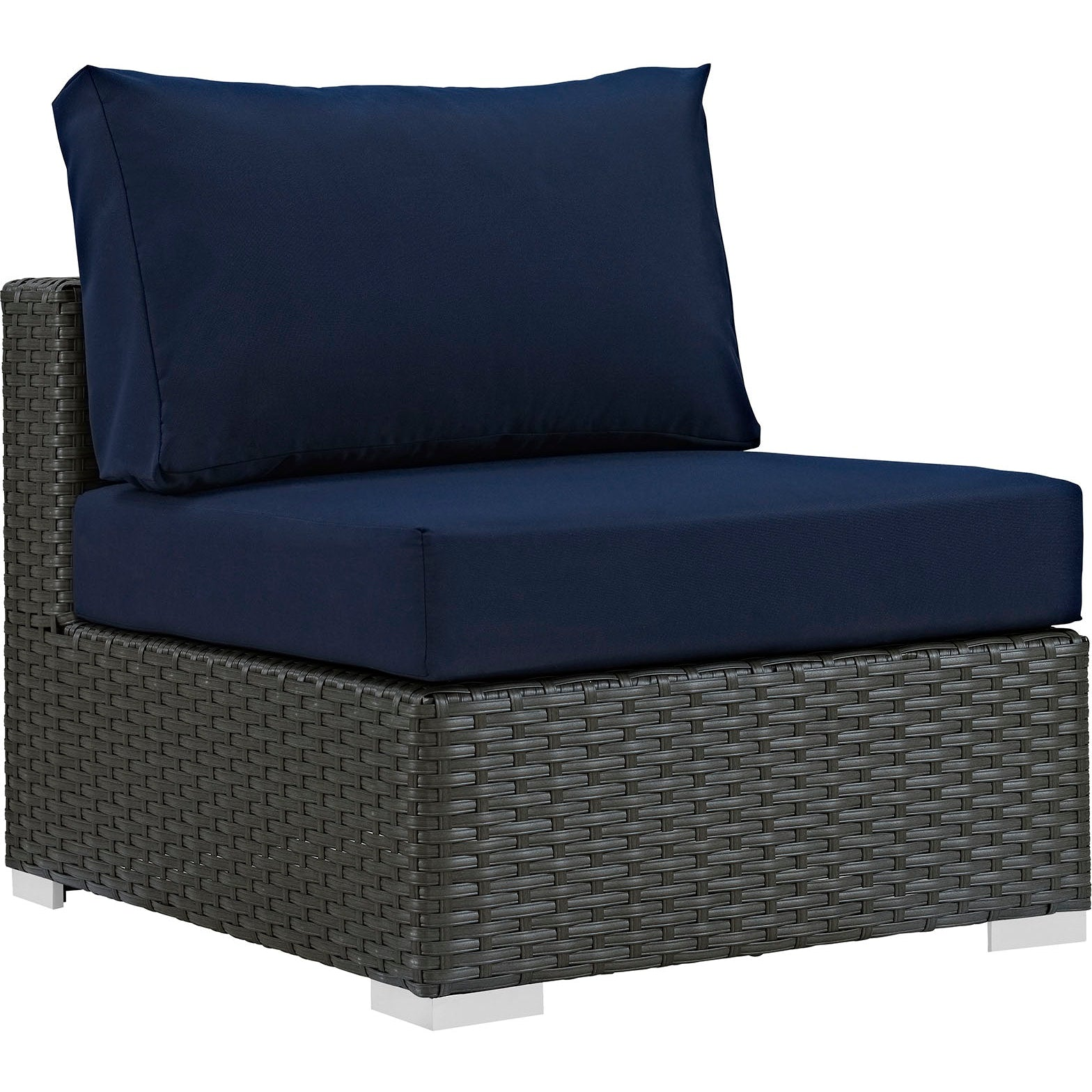 Sojourn 5 Piece Outdoor Patio Sunbrella® Sectional Set - Canvas Navy