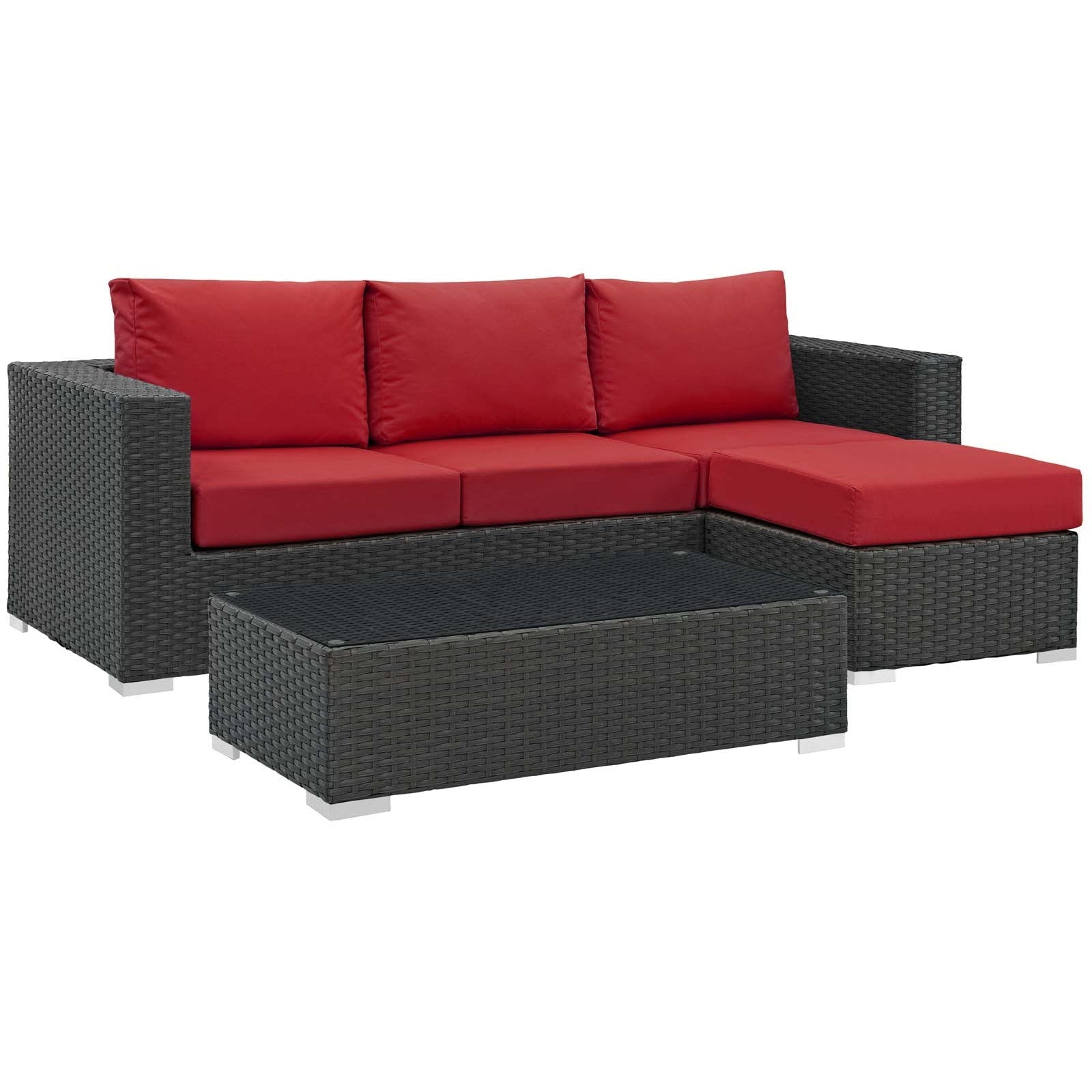 Sojourn 3 Piece Outdoor Patio Sunbrella® Sectional Set - Canvas Red