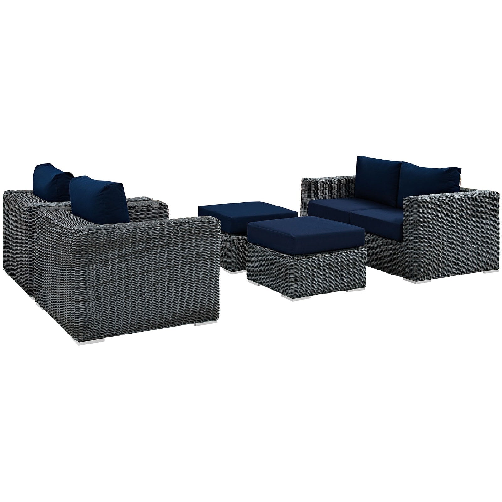 Summon 5 Piece Outdoor Patio Sunbrella® Sectional Set - Canvas Navy