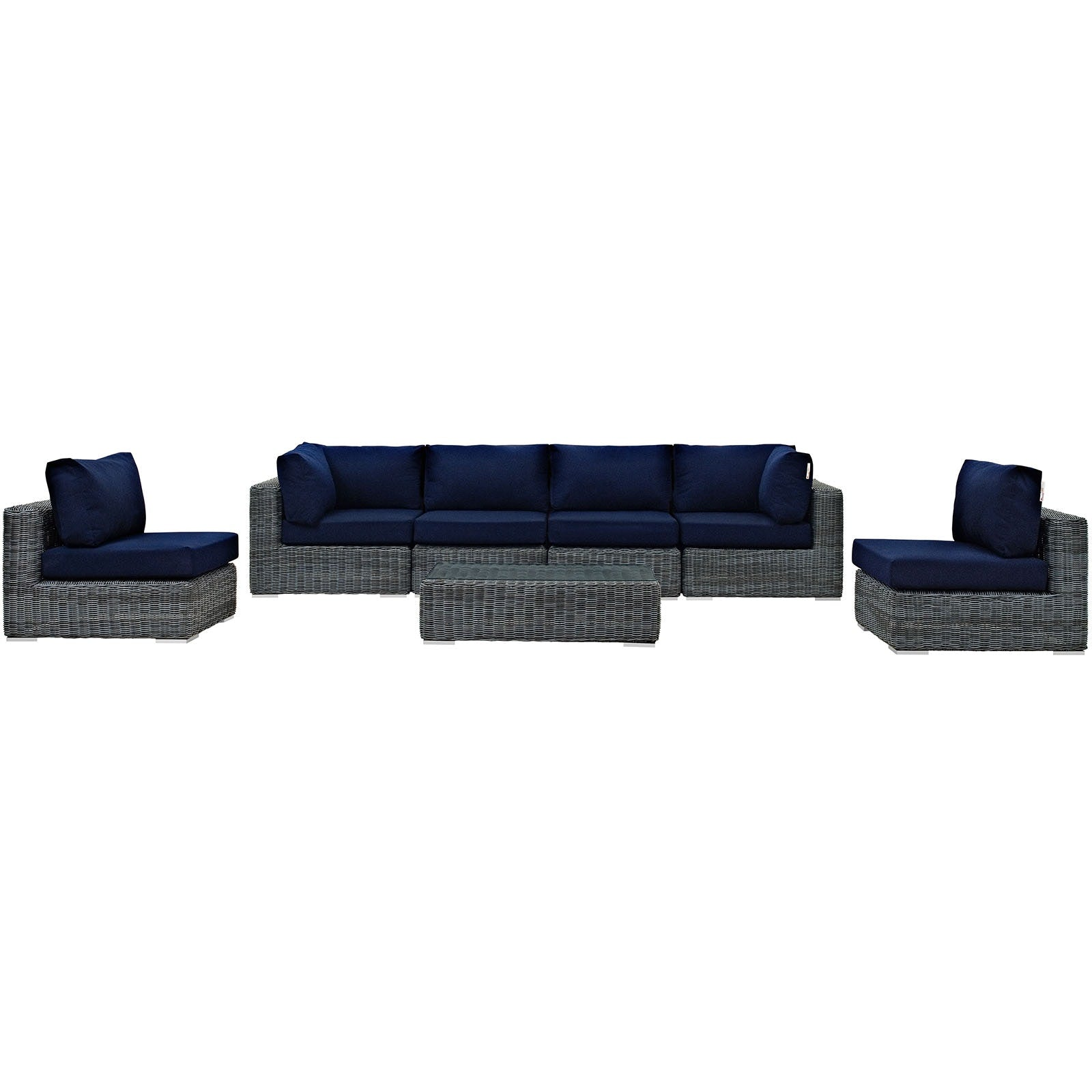 Summon 7 Piece Outdoor Patio Sunbrella® Sectional Set - Canvas Navy