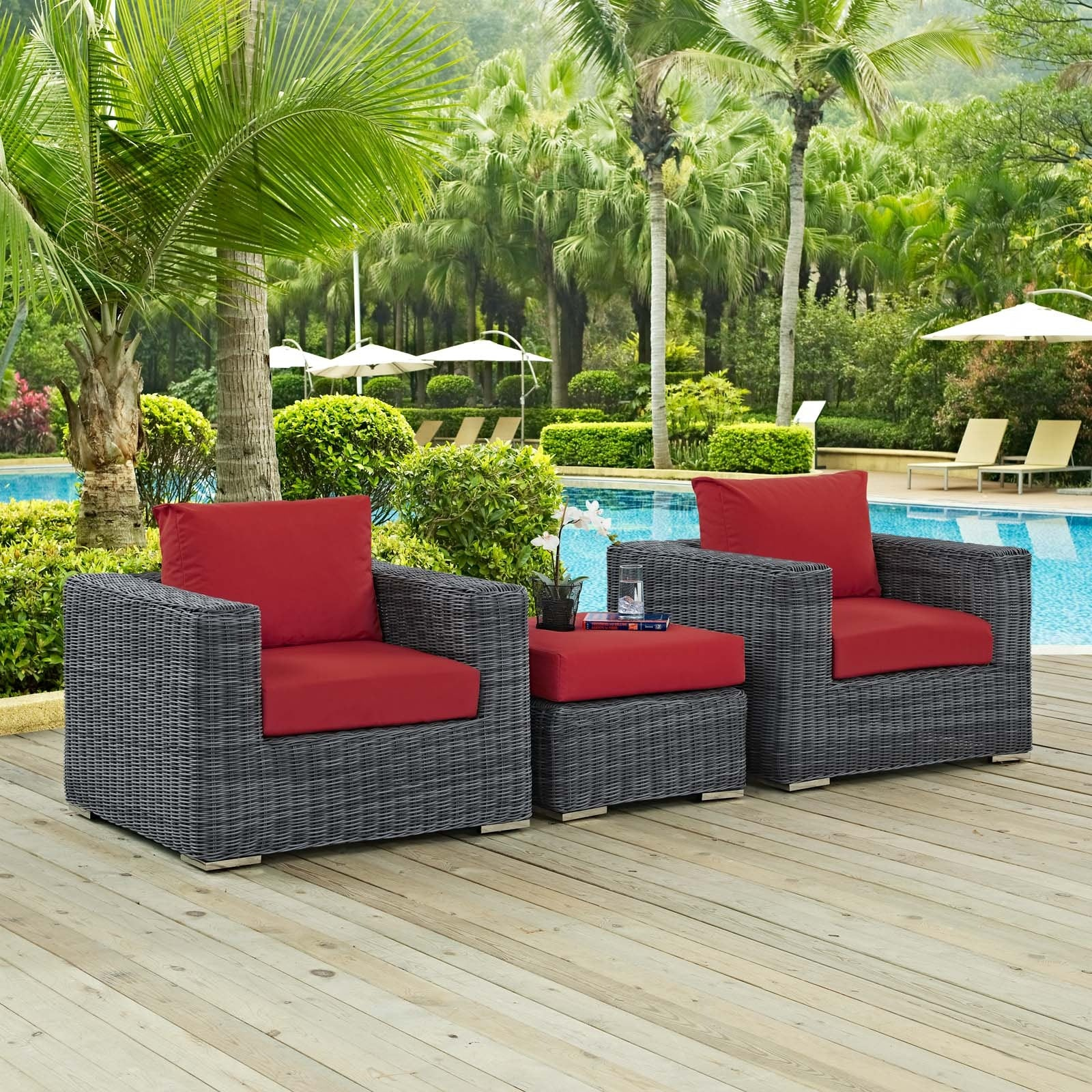Summon 3 Piece Outdoor Patio Sunbrella® Sectional Set - Canvas Red