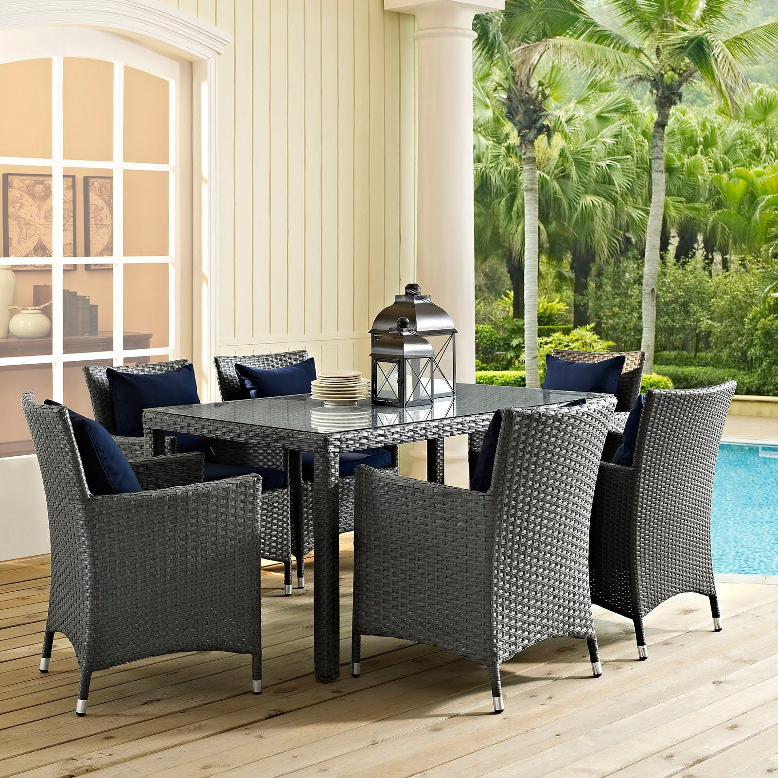 "Sojourn 59"" Outdoor Patio Dining Table - Chocolate"