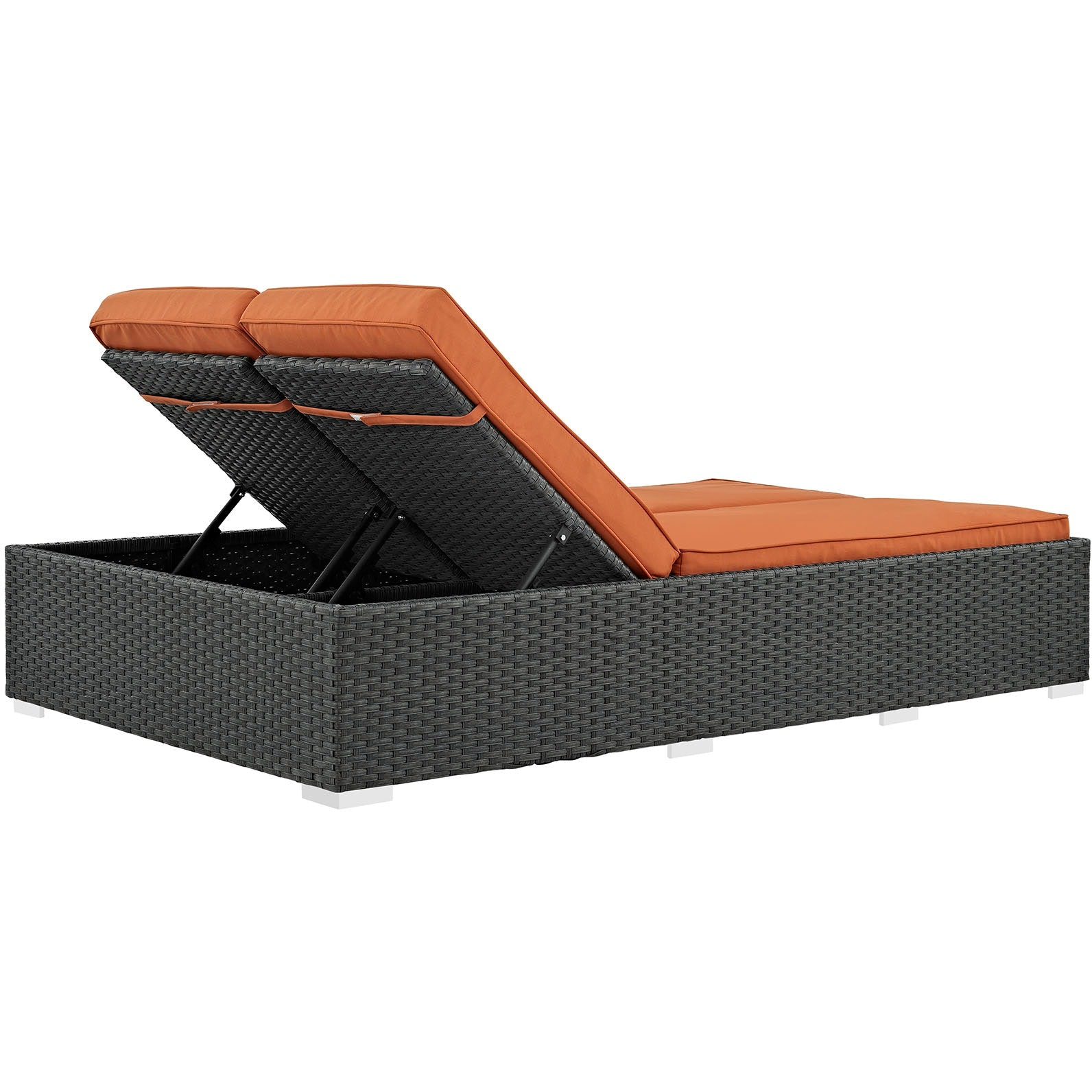 Sojourn Outdoor Patio Sunbrella® Double Chaise - Chocolate Tuscan
