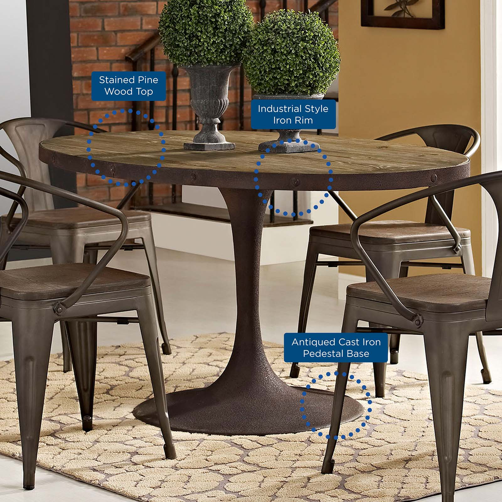 "Drive 60"" Oval Wood Top Dining Table - Brown"