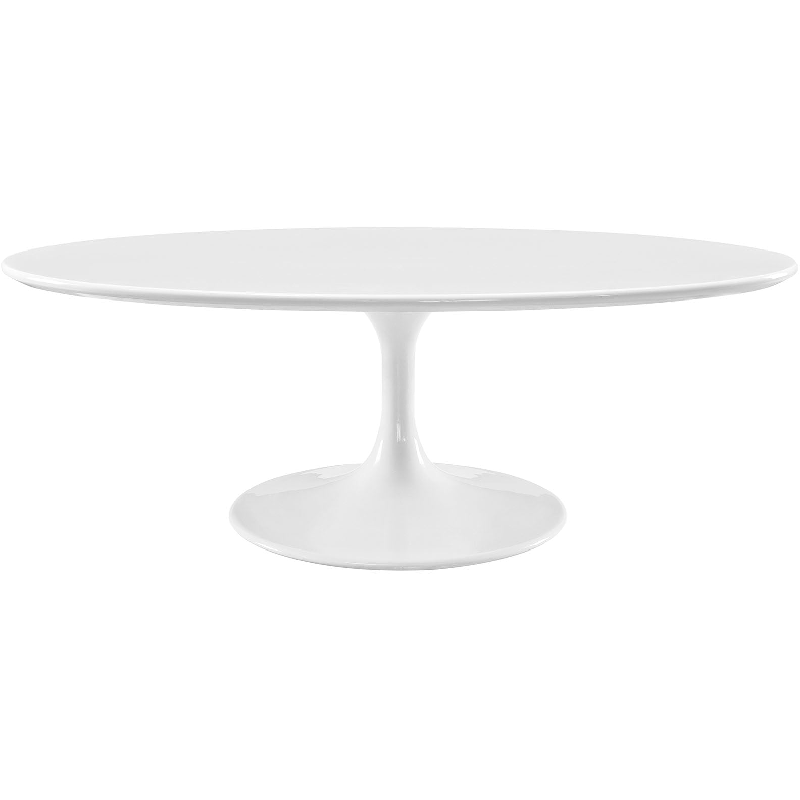 "Lippa 48"" Oval-Shaped Wood Top Coffee Table - White"