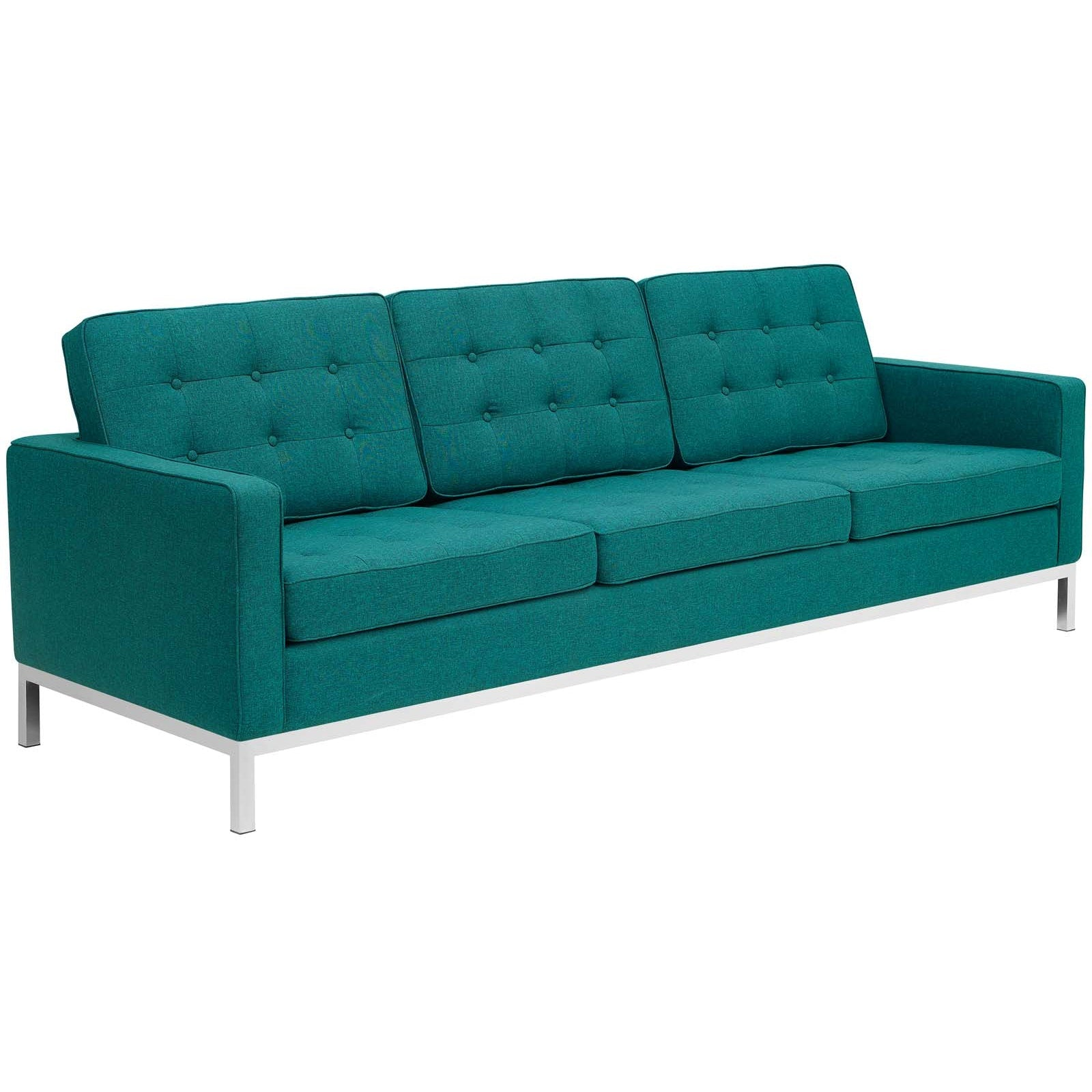 Loft Upholstered Fabric Sofa - Teal