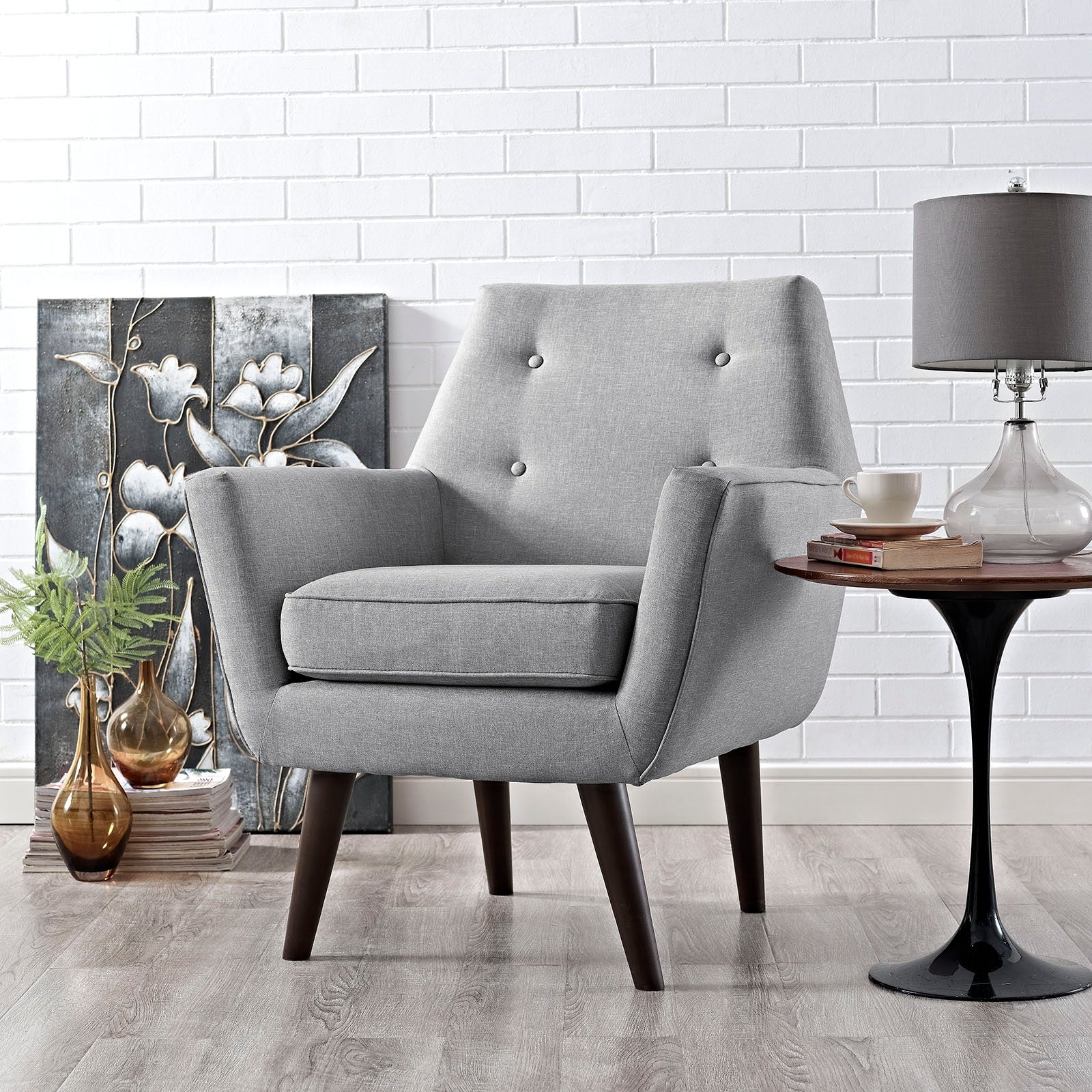 Posit Upholstered Fabric Armchair - Light Gray