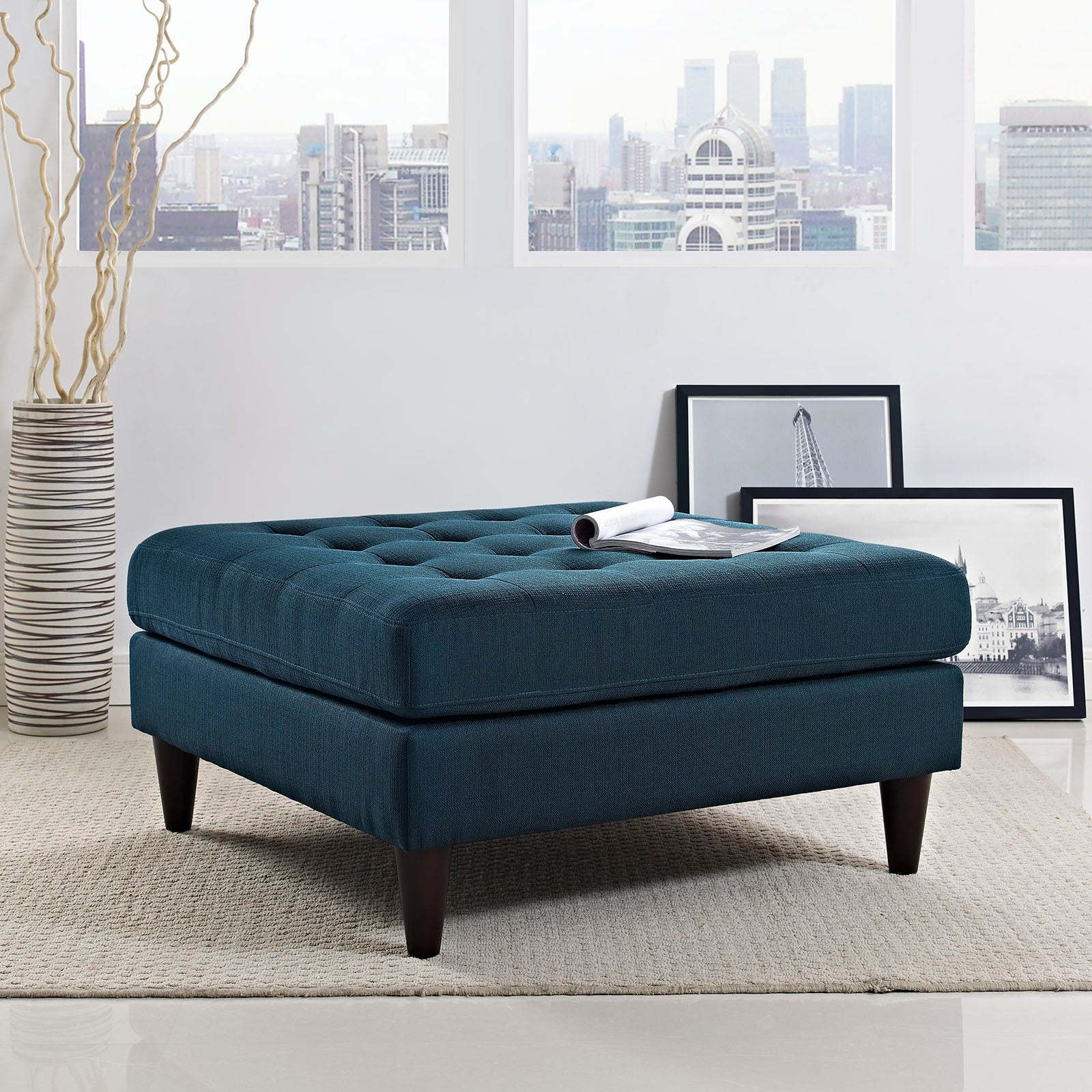 Empress Upholstered Fabric Large Ottoman - Azure