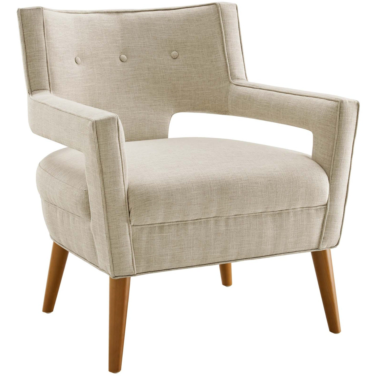 Sheer Upholstered Fabric Armchair - Sand