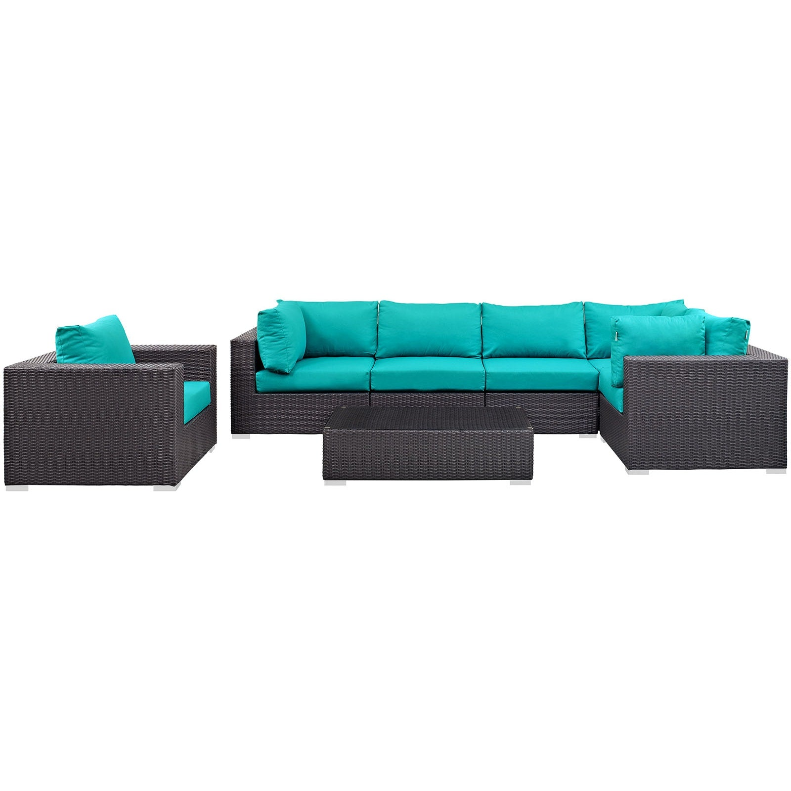 Convene 7 Piece Outdoor Patio Sectional Set - Espresso Turquoise