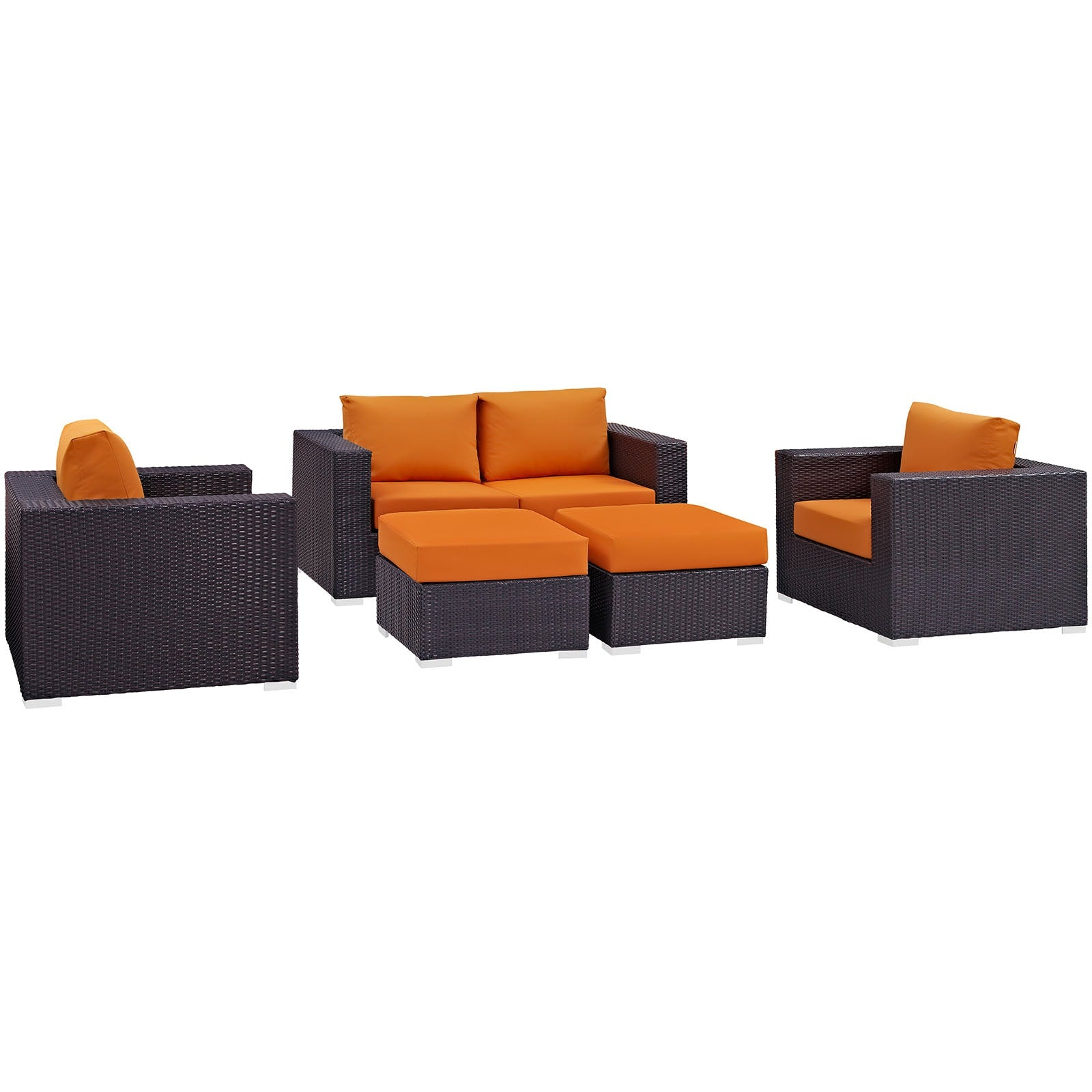 Convene 5 Piece Outdoor Patio Sofa Set - Espresso Orange