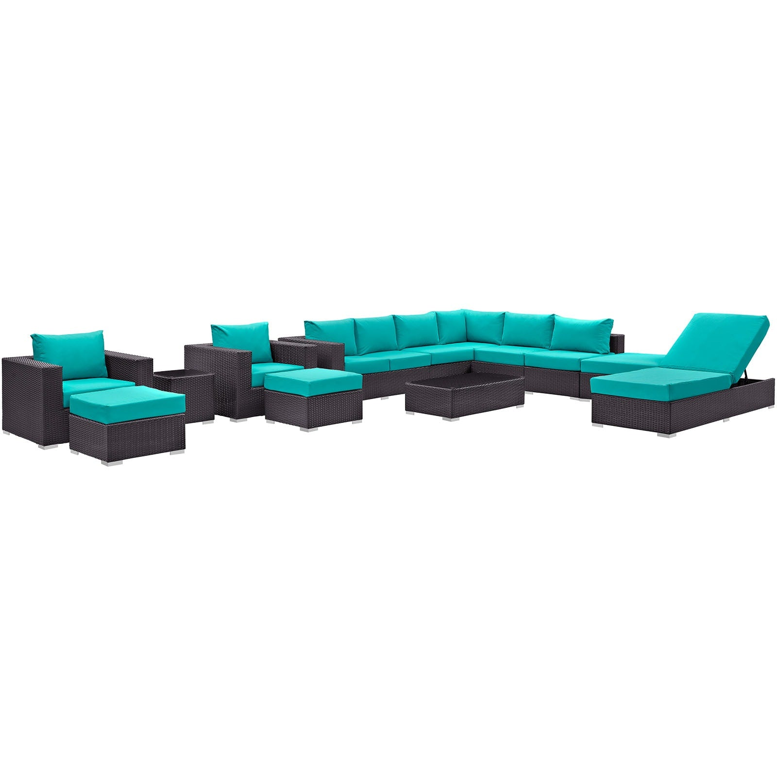 Convene 12 Piece Outdoor Patio Sectional Set - Espresso Turquoise