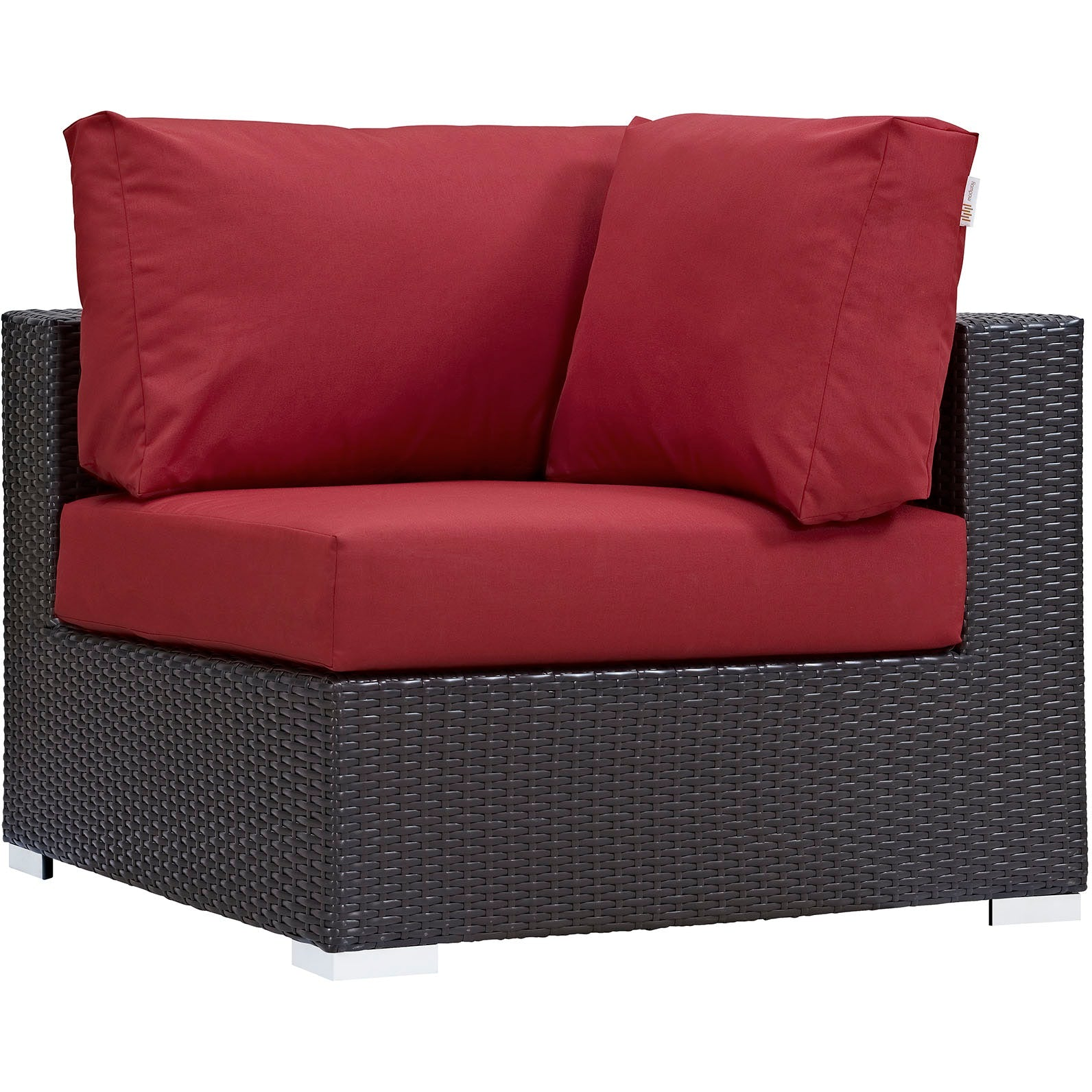 Convene 10 Piece Outdoor Patio Sectional Set - Espresso Red