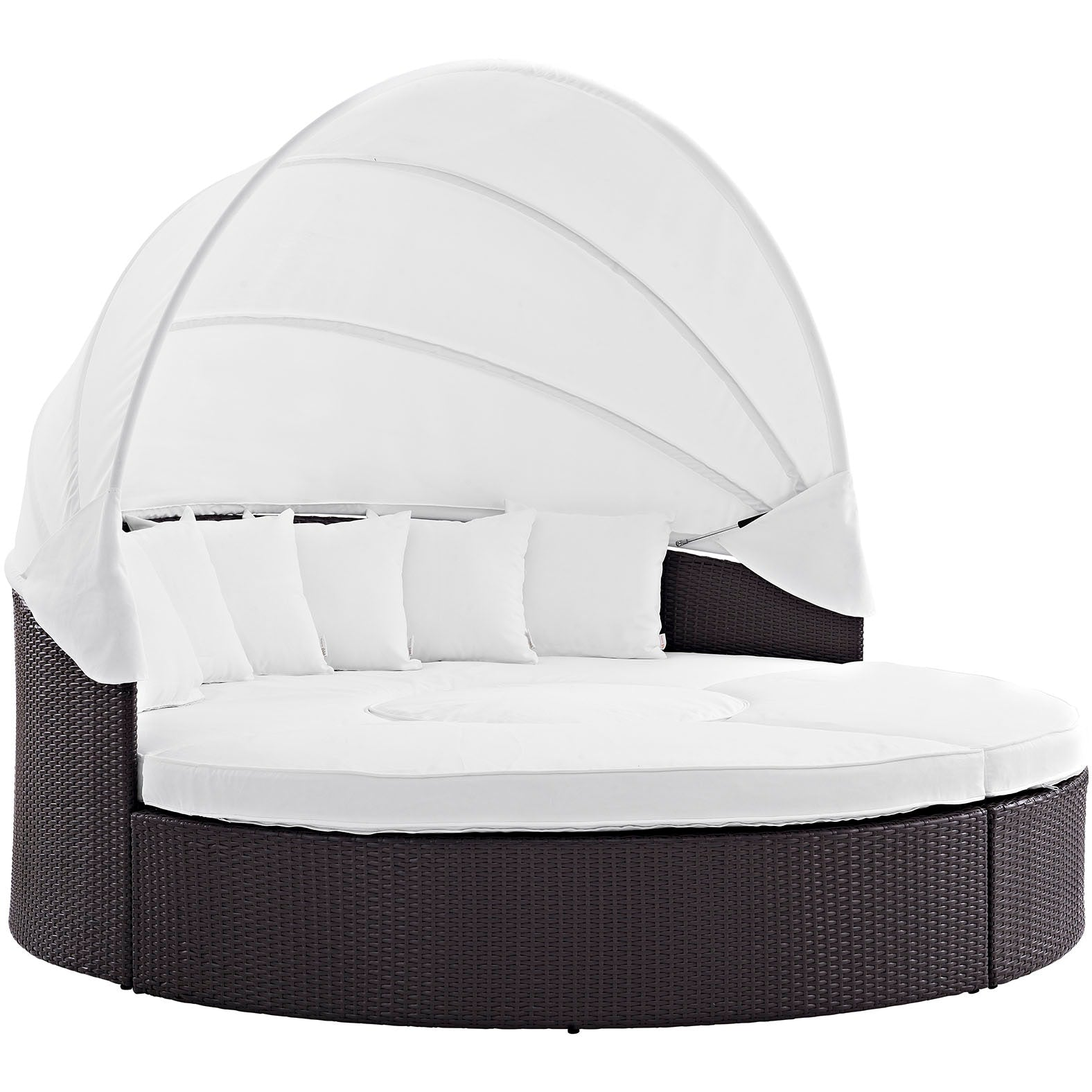 Convene Canopy Outdoor Patio Daybed - Espresso White