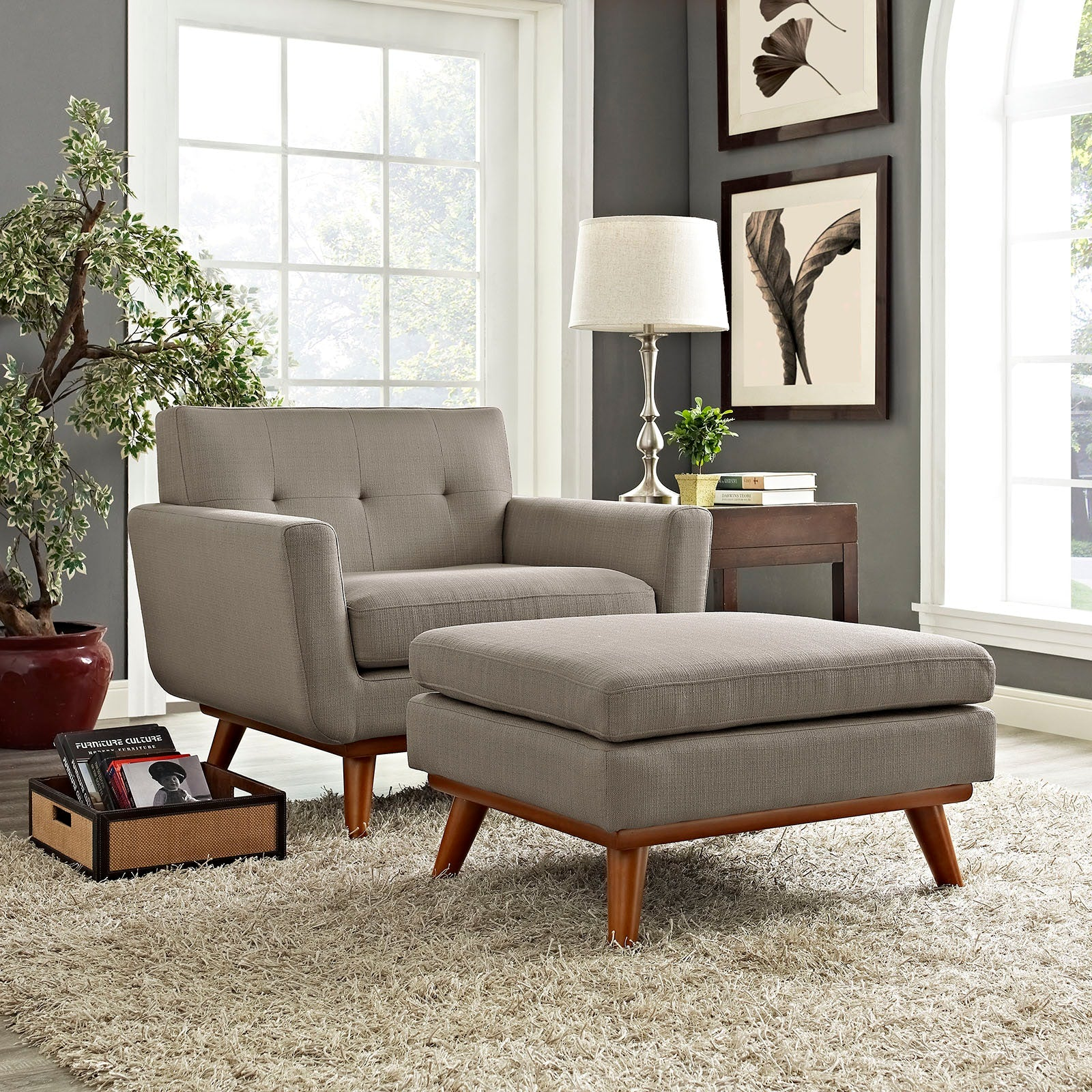 Engage 2 Piece Armchair and Ottoman - Granite