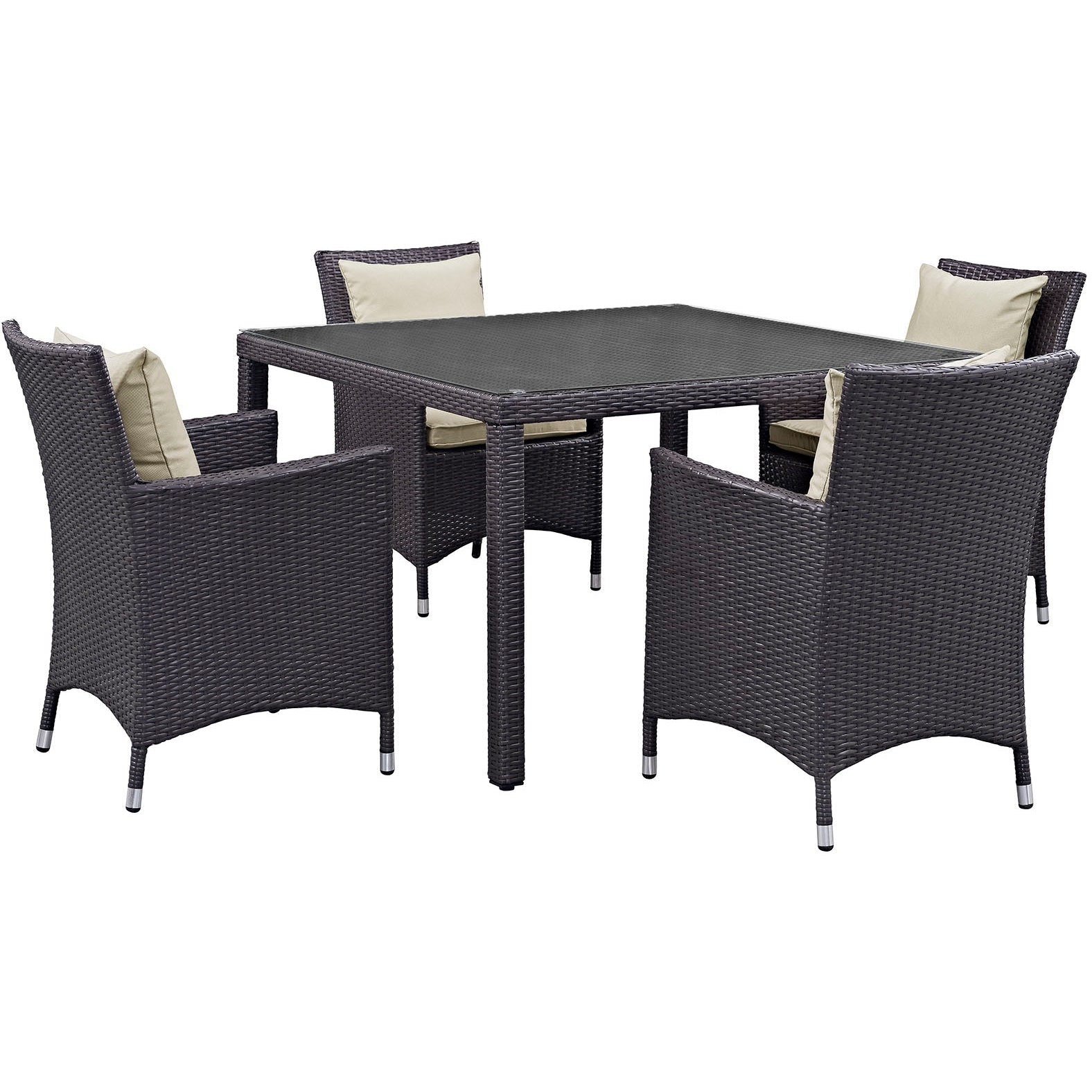 Convene 5 Piece Outdoor Patio Dining Set - Espresso Beige