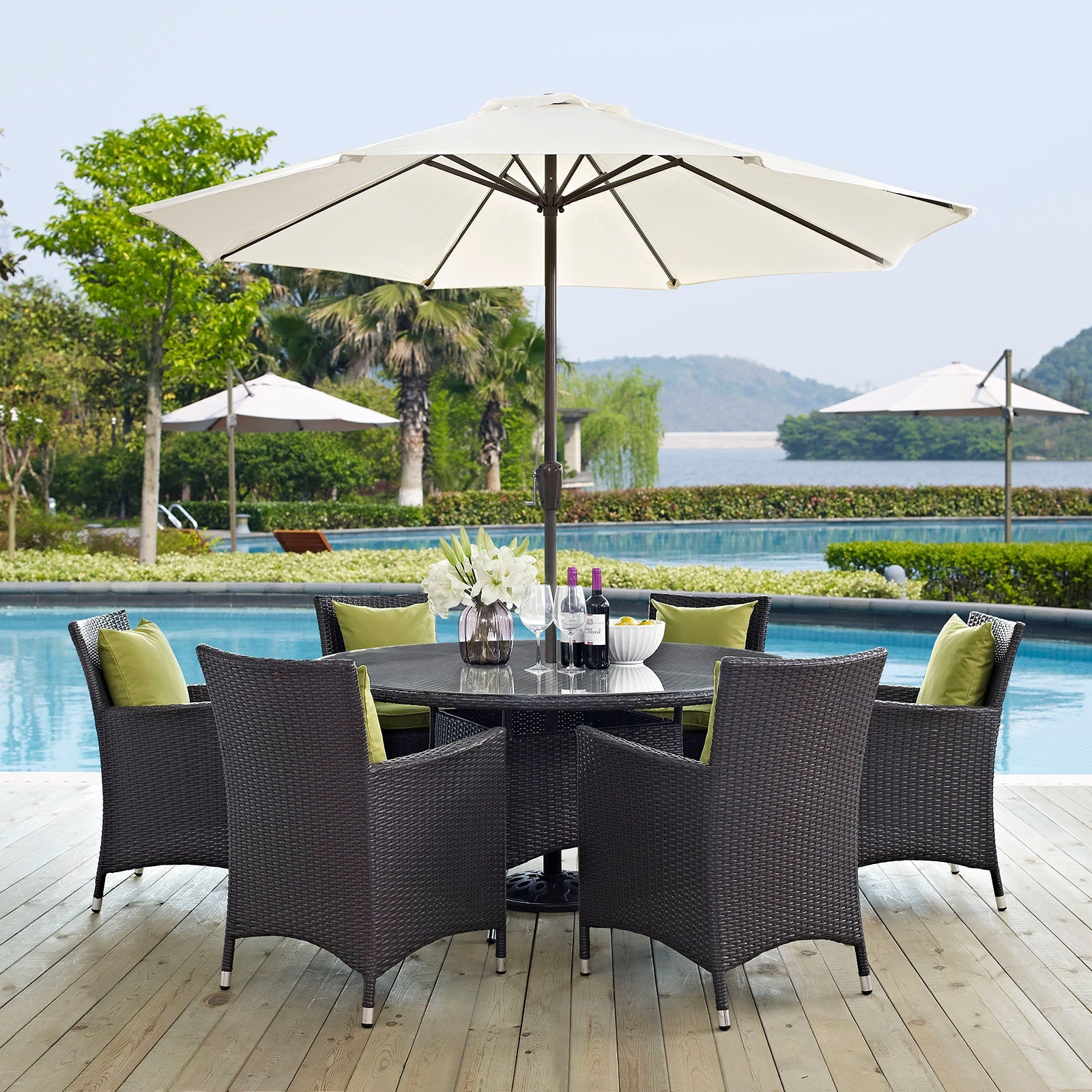 Convene 8 Piece Outdoor Patio Dining Set - Espresso Peridot