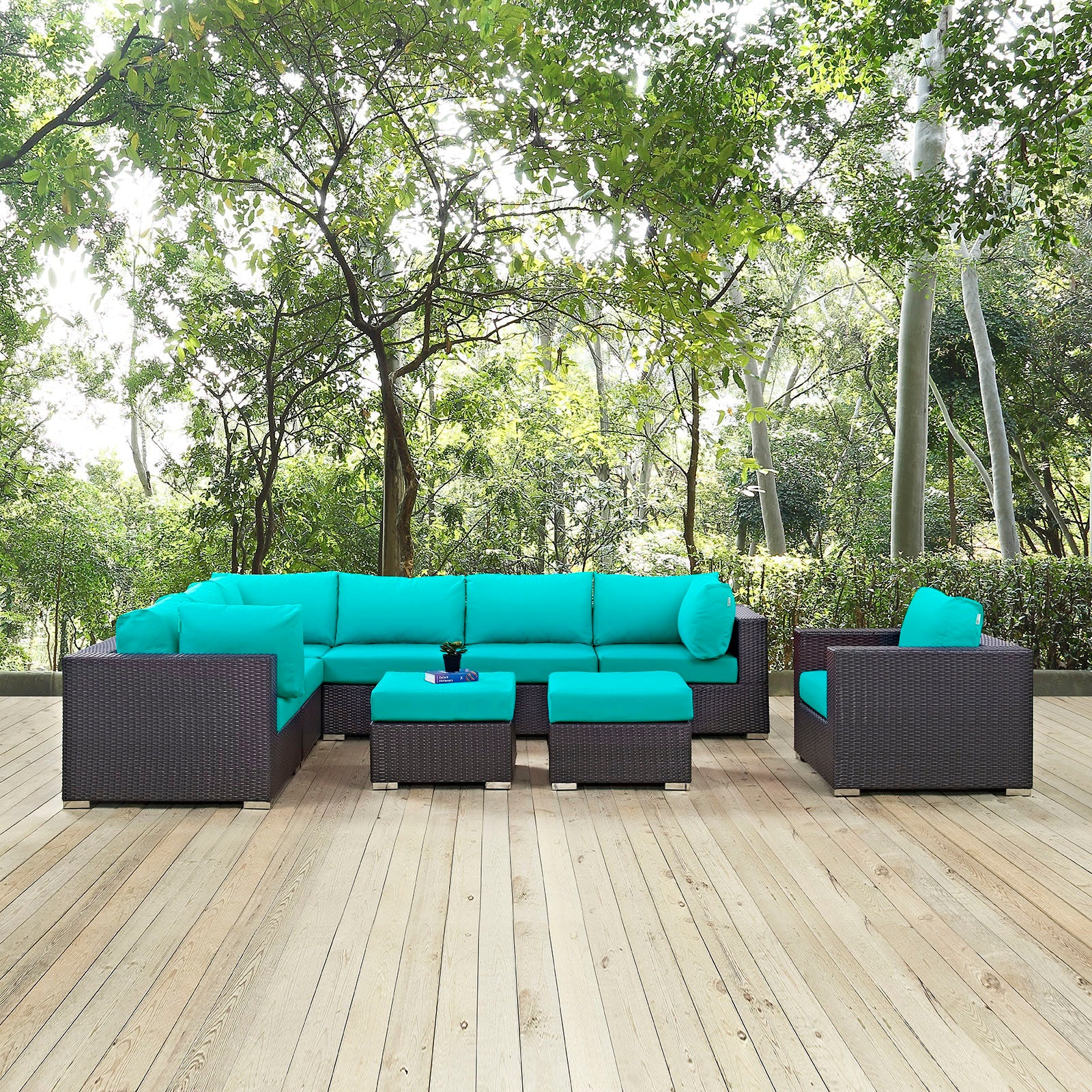 Convene 9 Piece Outdoor Patio Sectional Set - Espresso Turquoise