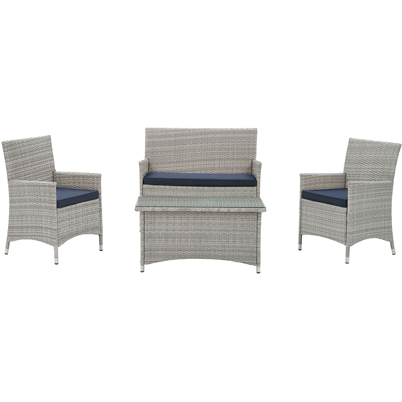 Bridge 4 Piece Outdoor Patio Patio Conversation Set - Light Gray Navy