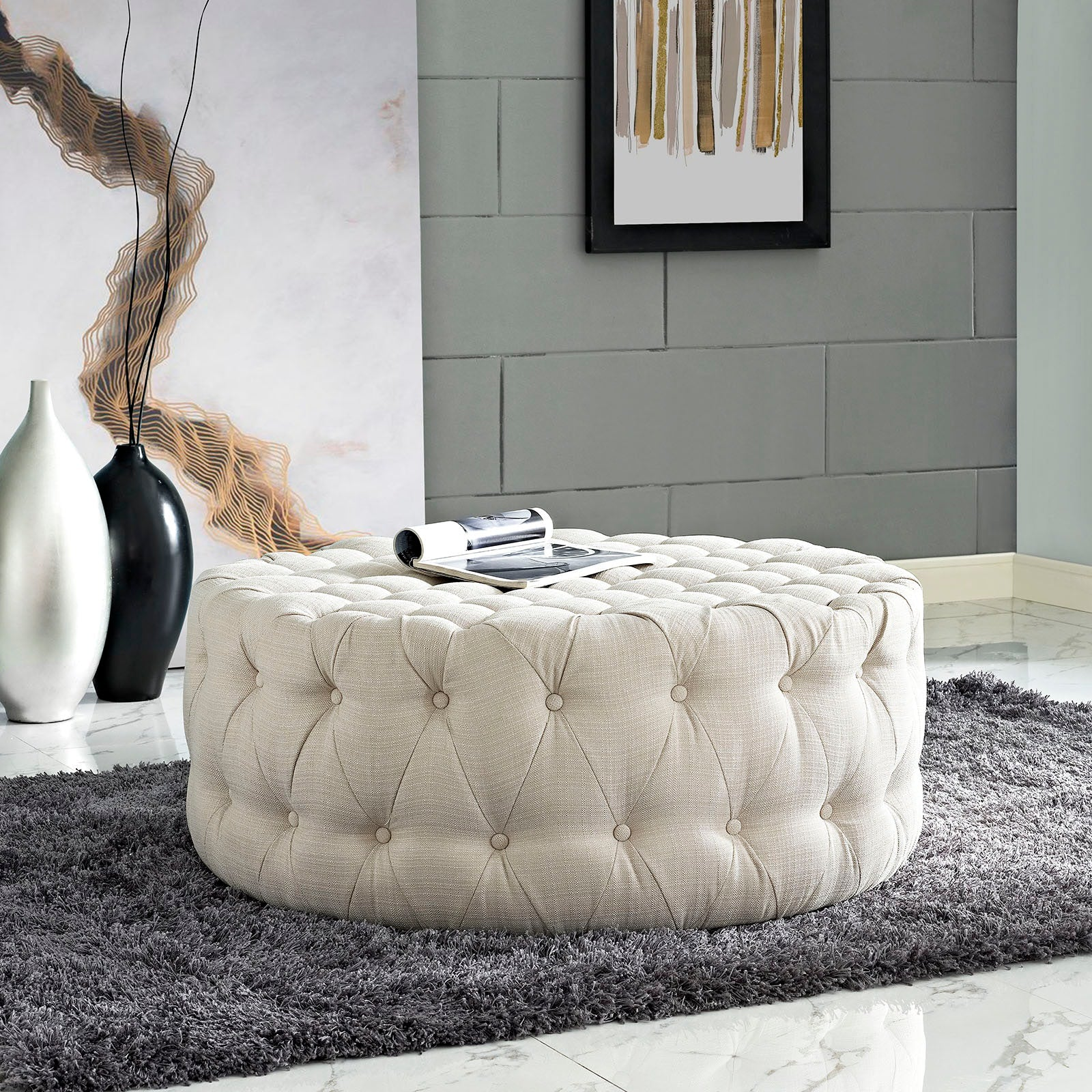 Amour Upholstered Fabric Ottoman - Beige