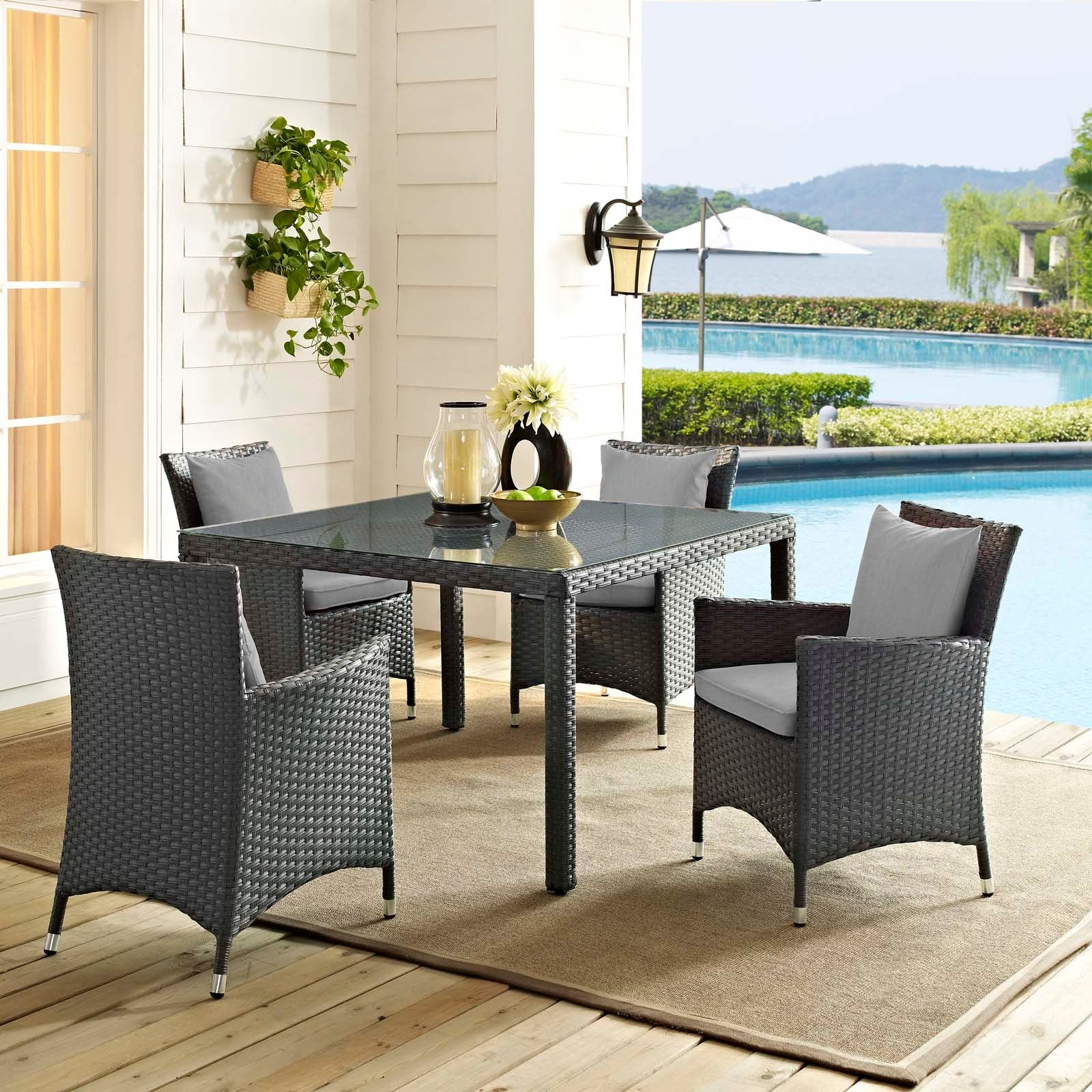 Sojourn 4 Piece Outdoor Patio Sunbrella® Dining Set - Canvas Gray